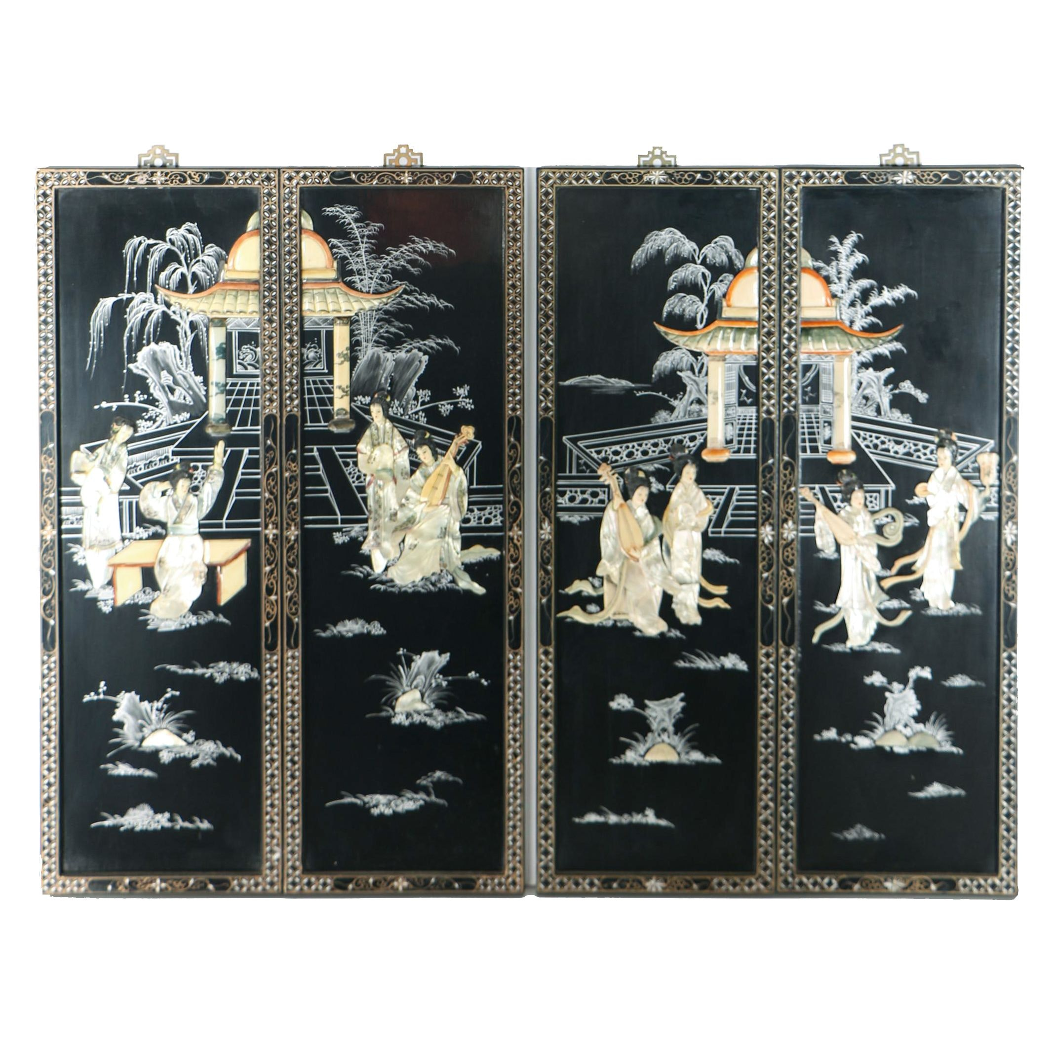Chinese Decorative Panels with Mother of Pearl and Shell Inlay