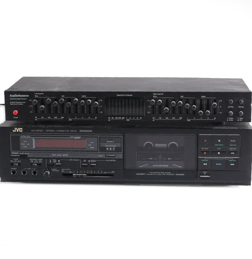JVC KD-VR320 Stero Cassette Deck and AudioSource Graphic Equalizer