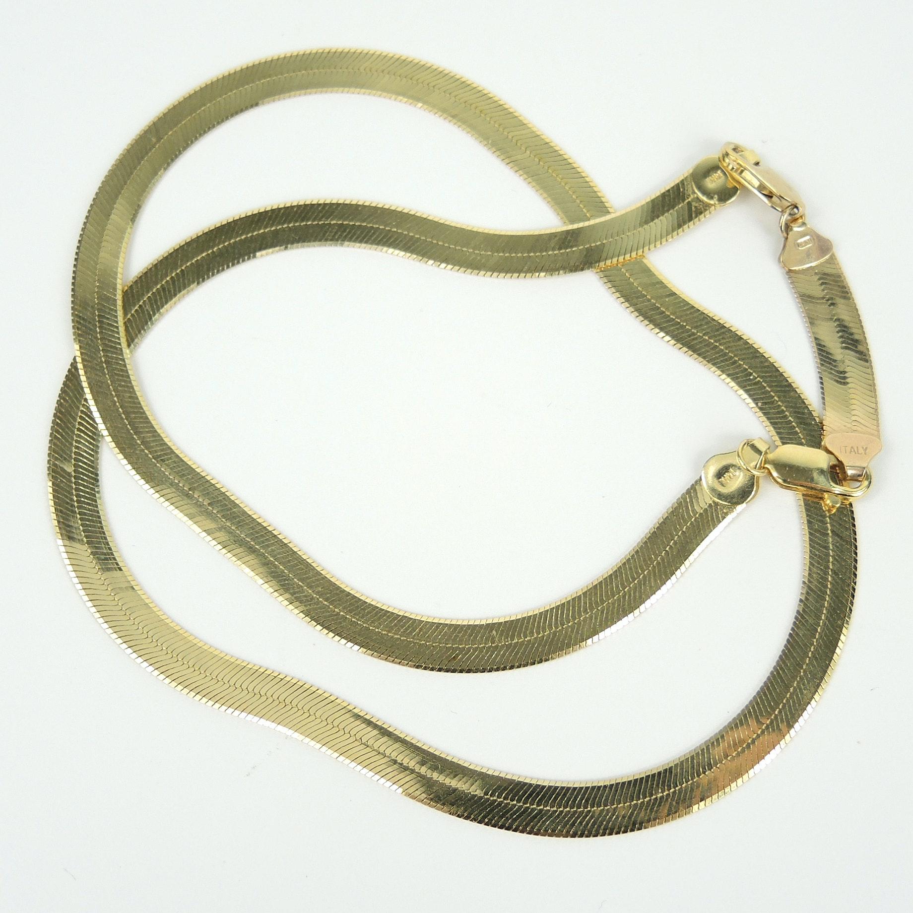 14K Italian Gold Herringbone Necklace with 10K Extender