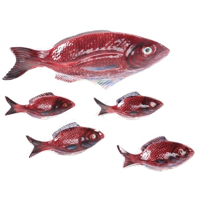 Portuguese Ceramic Fish Shaped Serving Set