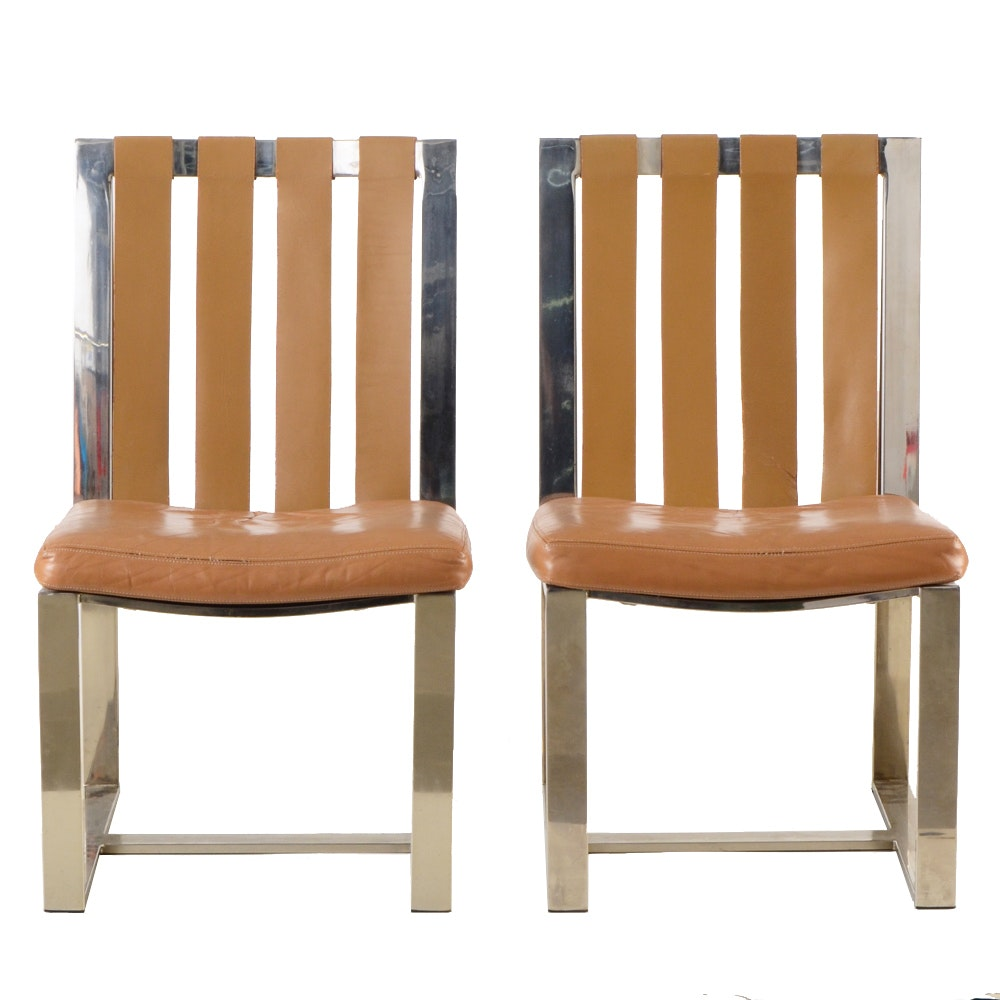 Milo Baughman / Thayer Coggin Flat-Bar and Leather Side Chairs
