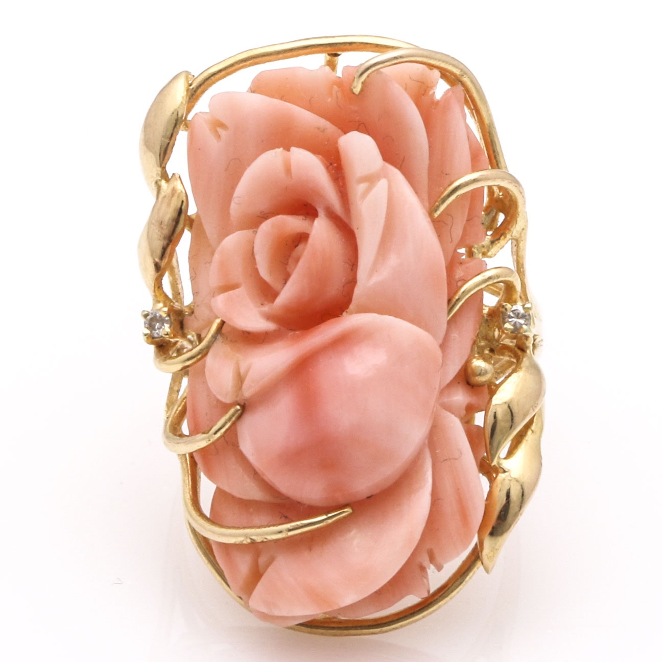 14K Yellow Gold Angel's Skin Coral Rose and Diamond Ring