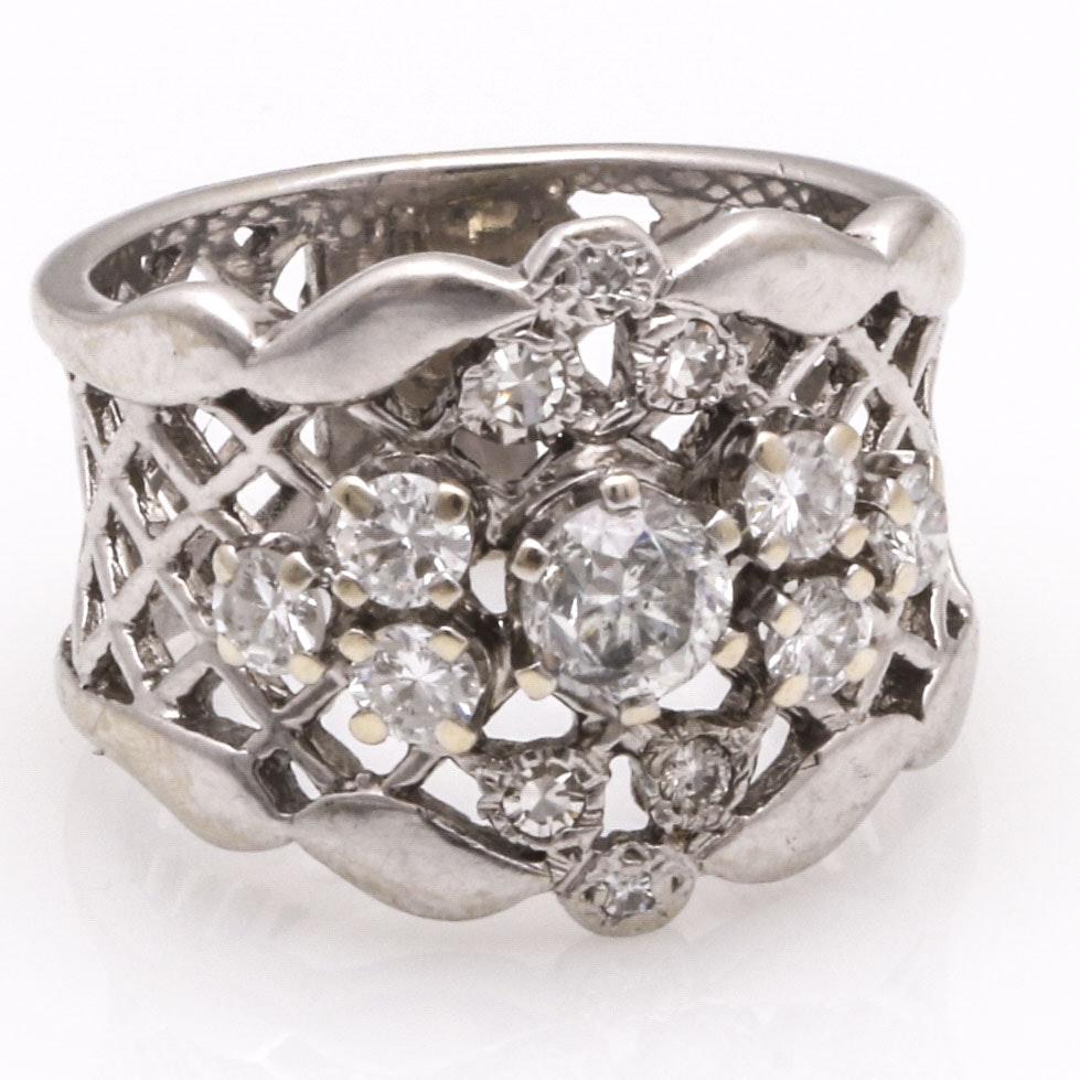 14K White Gold Pierced Diamond Ring