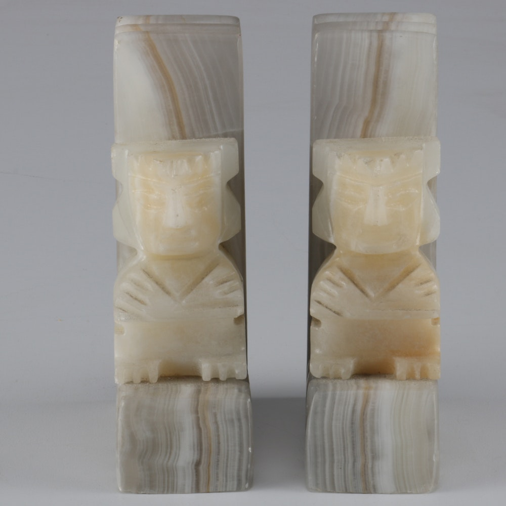 Pair of Carved Quartz Bookends