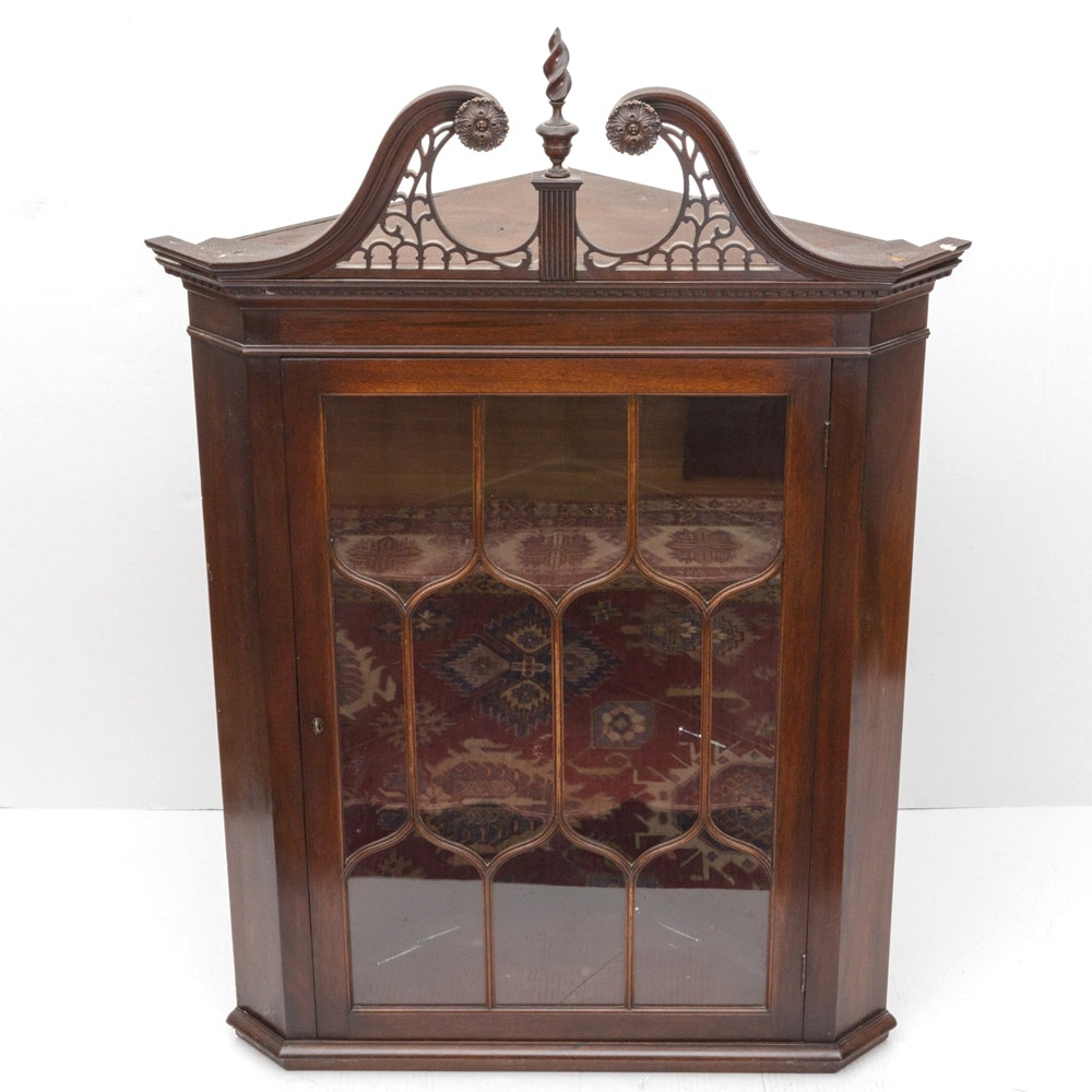 Glass Front Chinese Chippendale Style Corner Cabinet ...