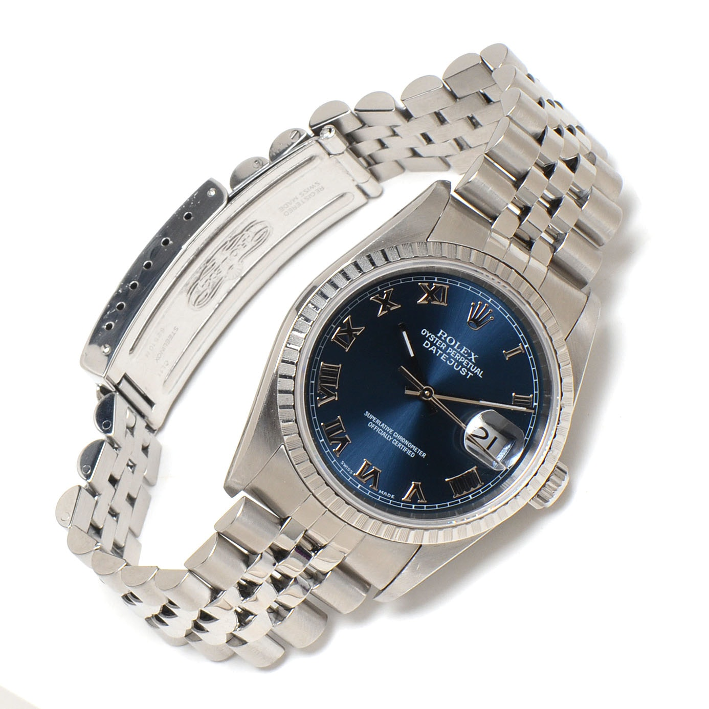 Men's Rolex Datejust Steel 16220 Blue Roman Dial Automatic Watch
