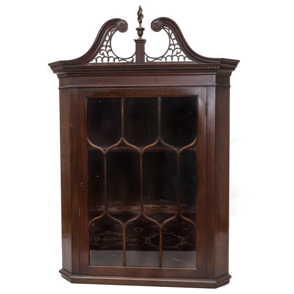 Elegant Glass Front Chinese Chippendale Style Corner Cabinet ...