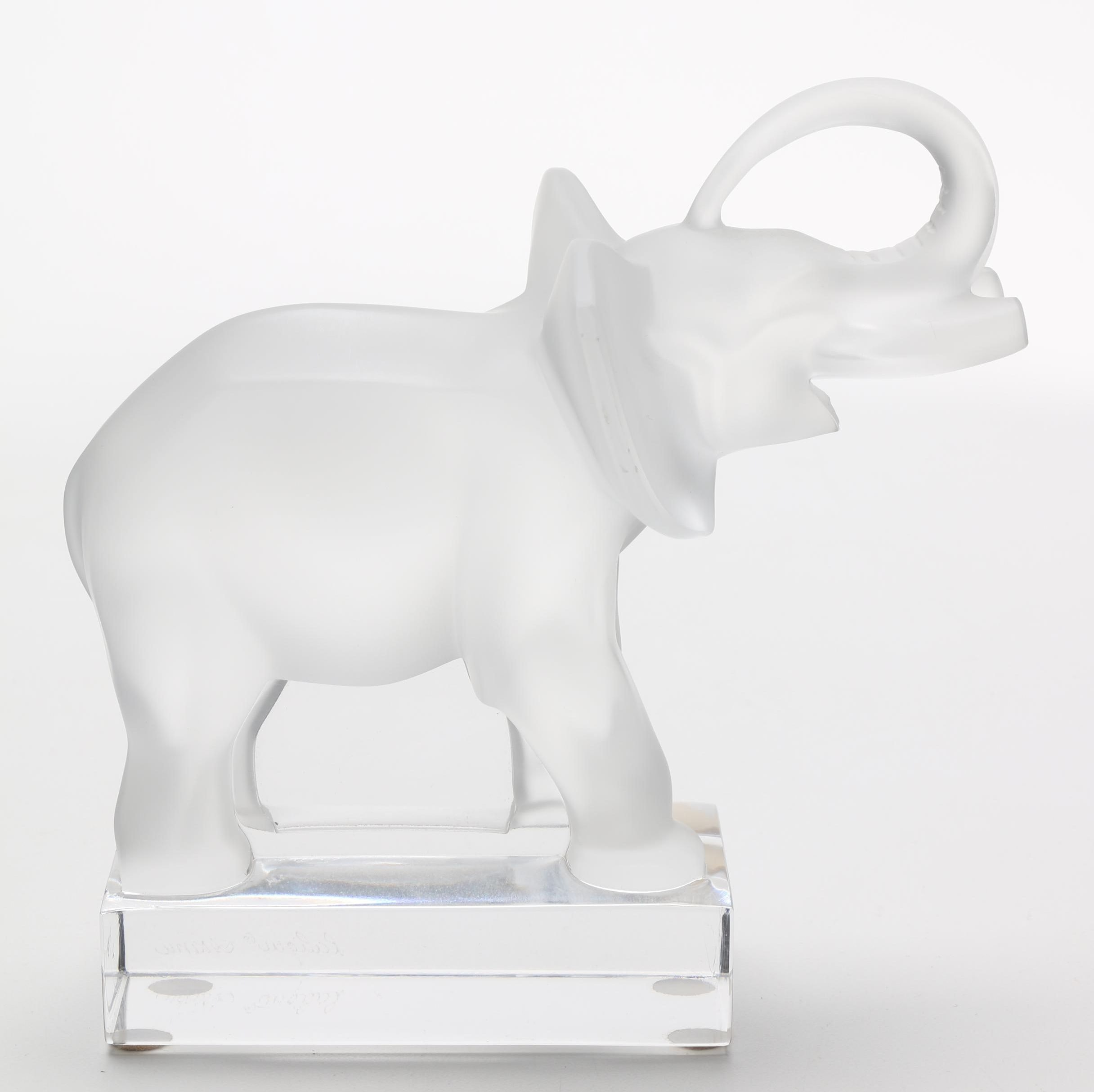 """Lalique Crystal """"Trunk Up"""" Elephant"""