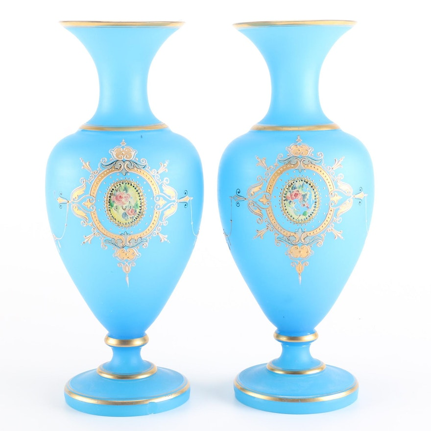 Late Victorian French Satin Glass Vases Ebth