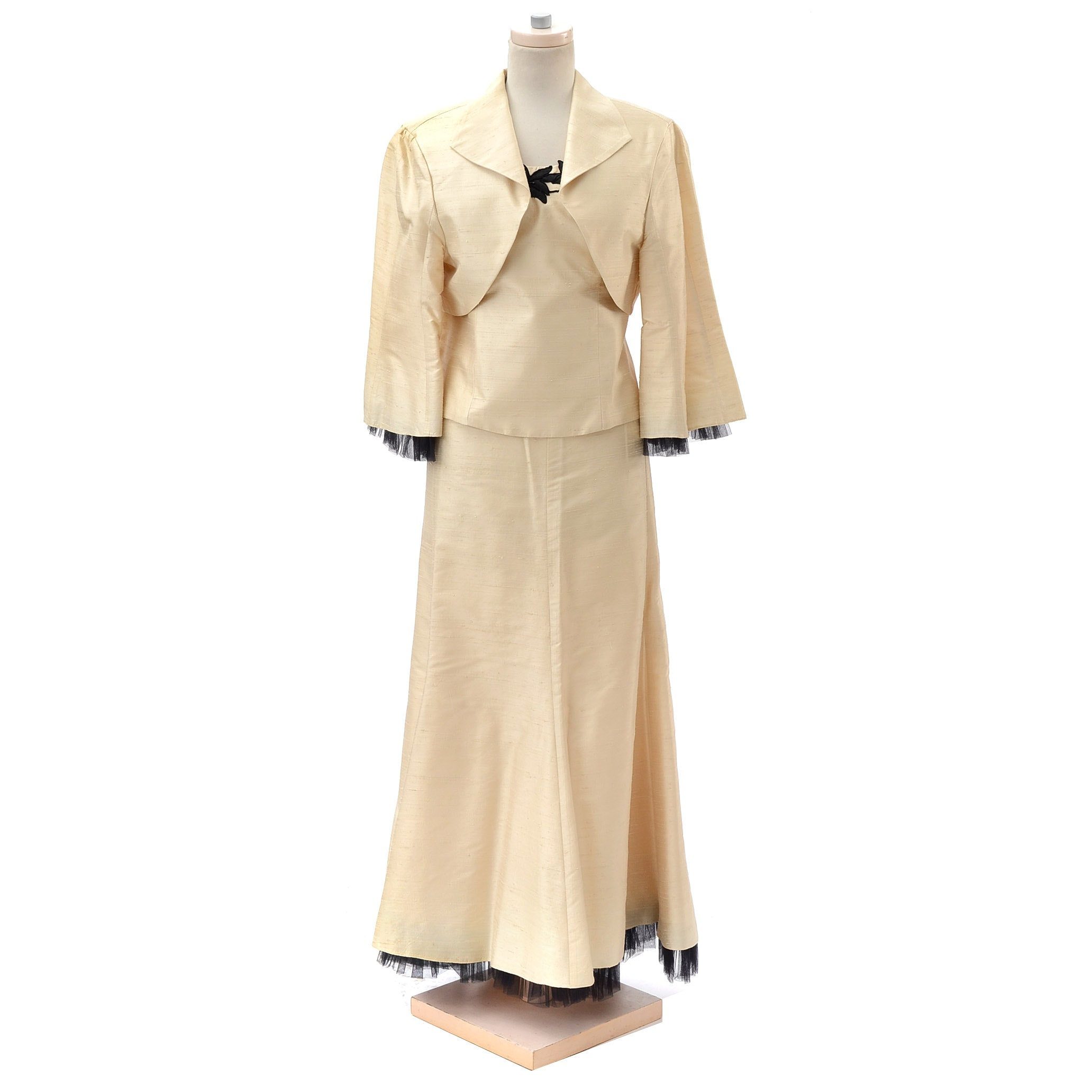 Ivory Silk Dupioni Three-Piece Ensemble