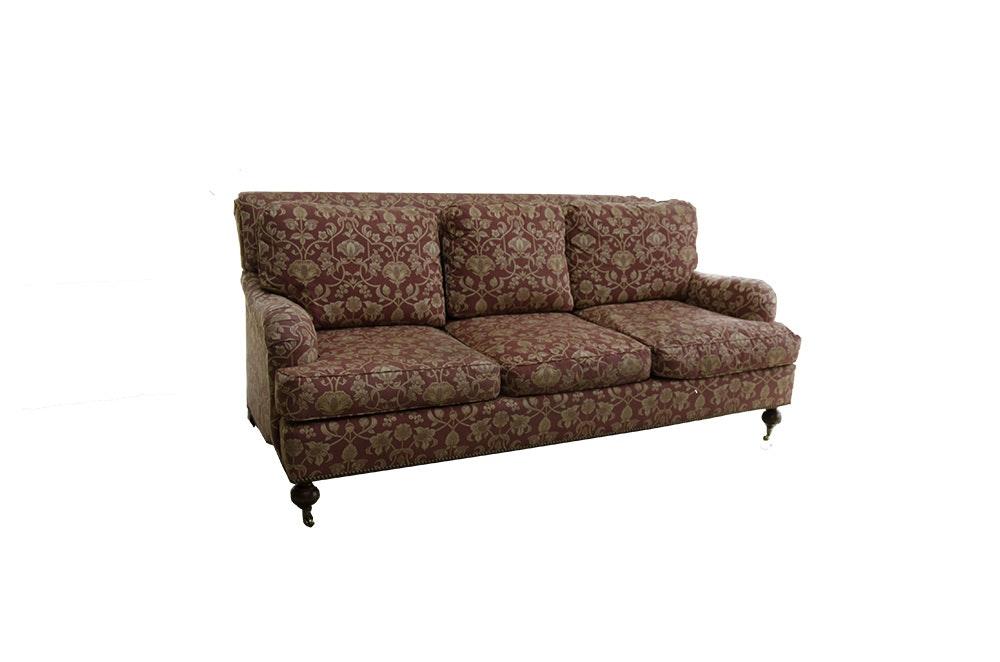 Drexel Heritage Red Floral Upholstered Sofa ...