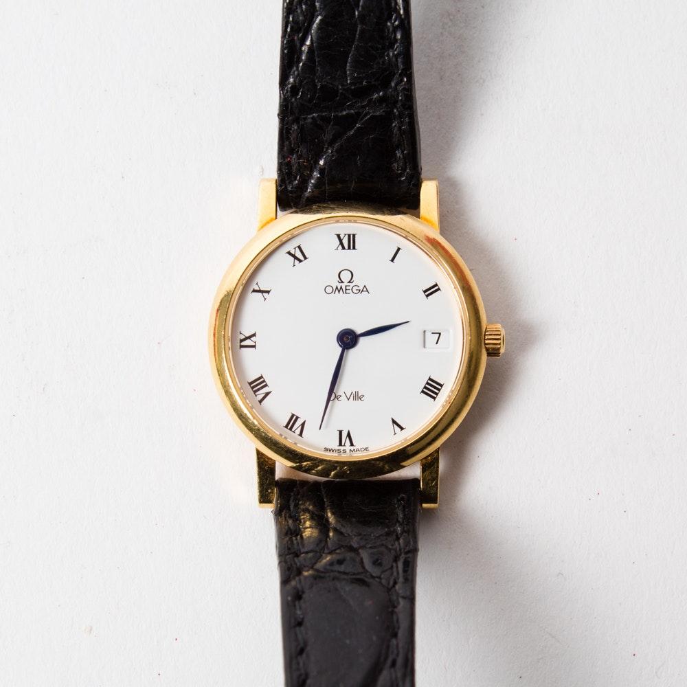 """18K Gold Omega """"Deville"""" Watch"""