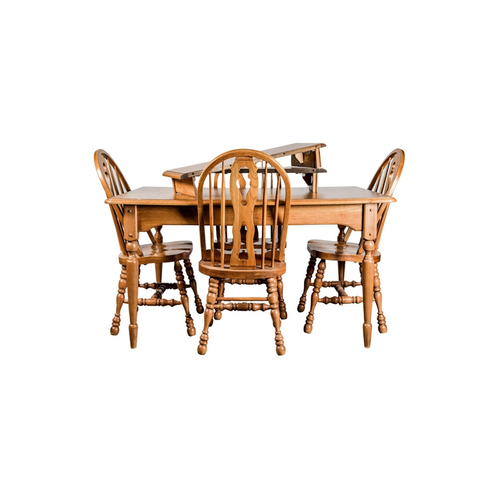Oak Farmhouse Style Kitchen Table and Chairs
