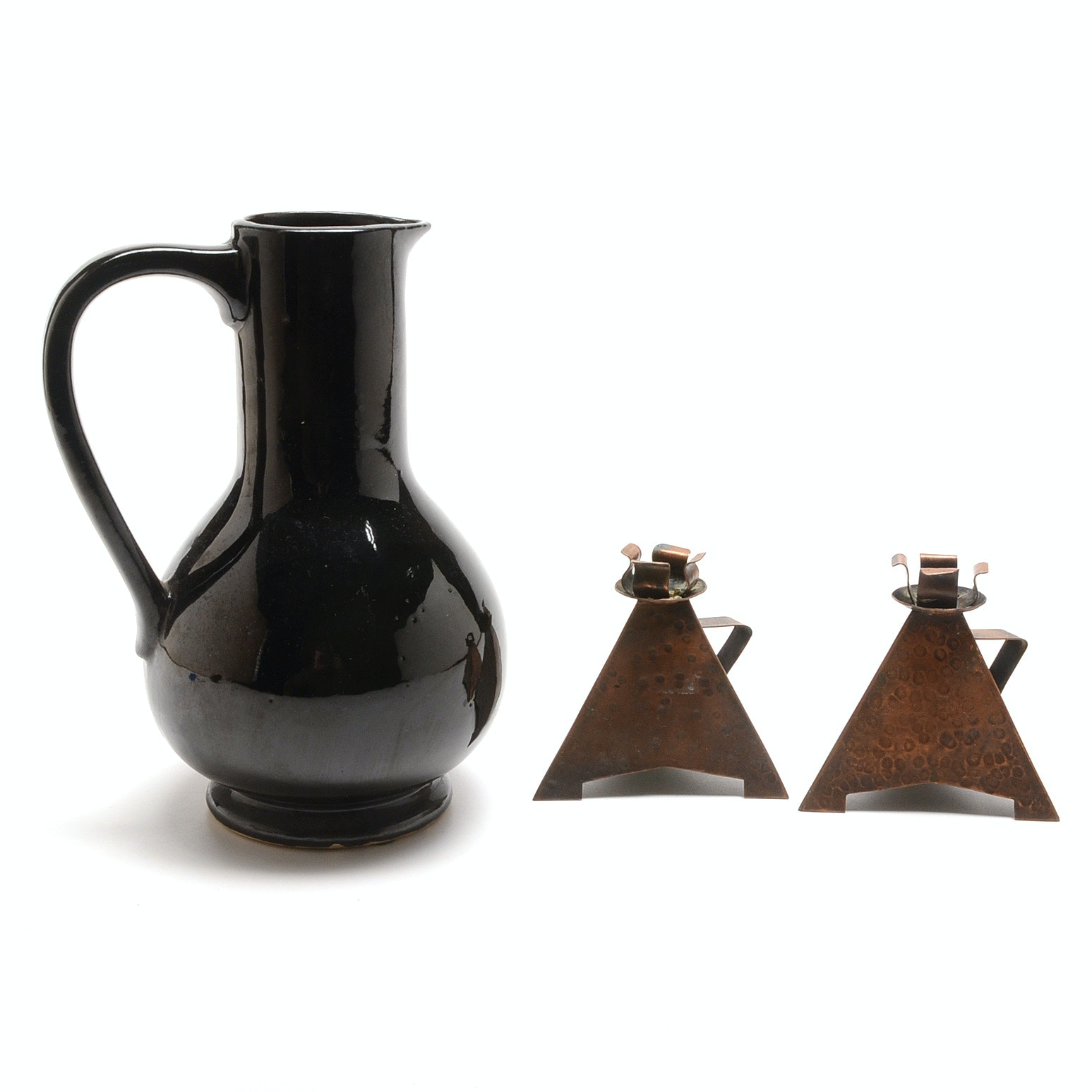 Modern McCoy Pitcher and Pyramid Candle Sticks