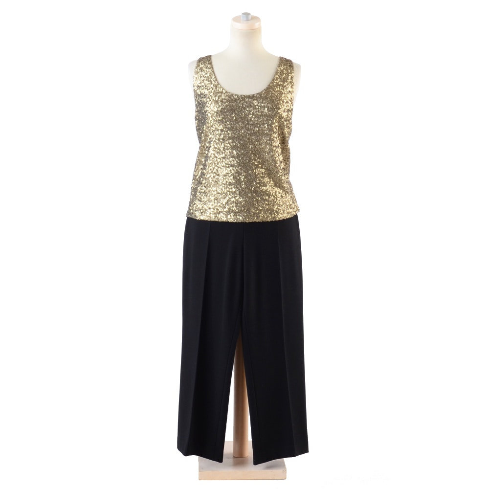 Elie Tahari Embellished Sequined Top and Escada Pants