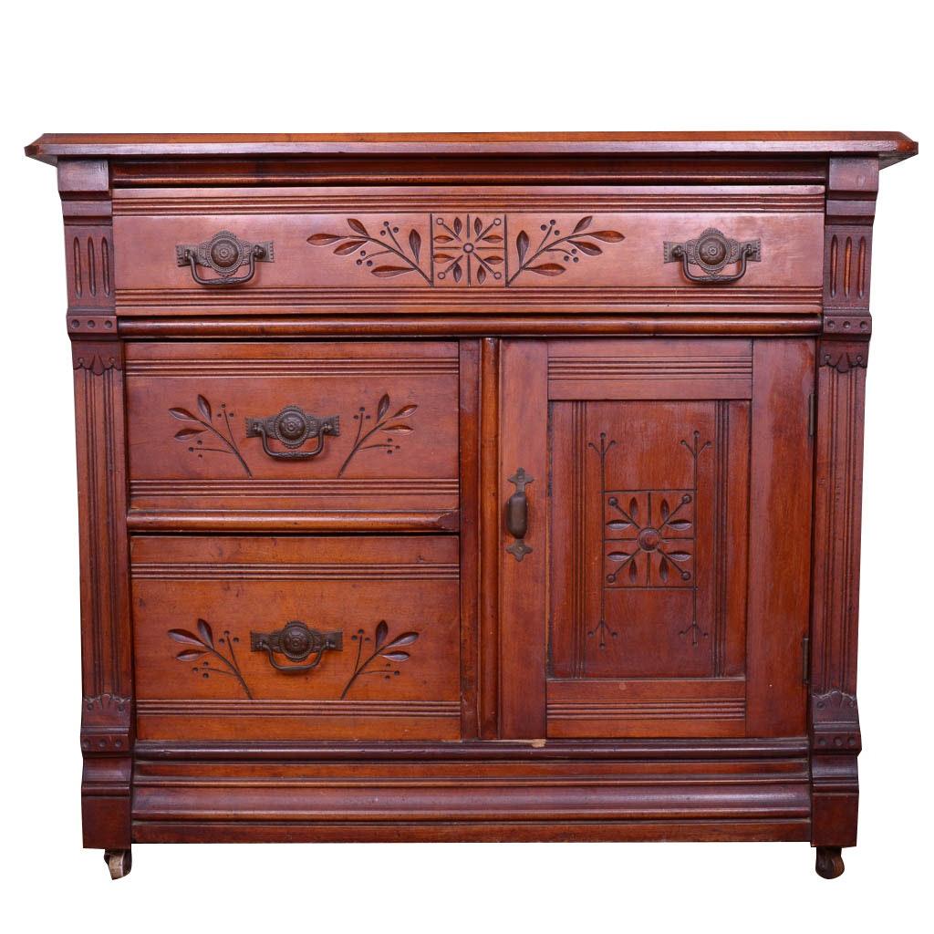 Antique Eastlake Walnut Cabinet