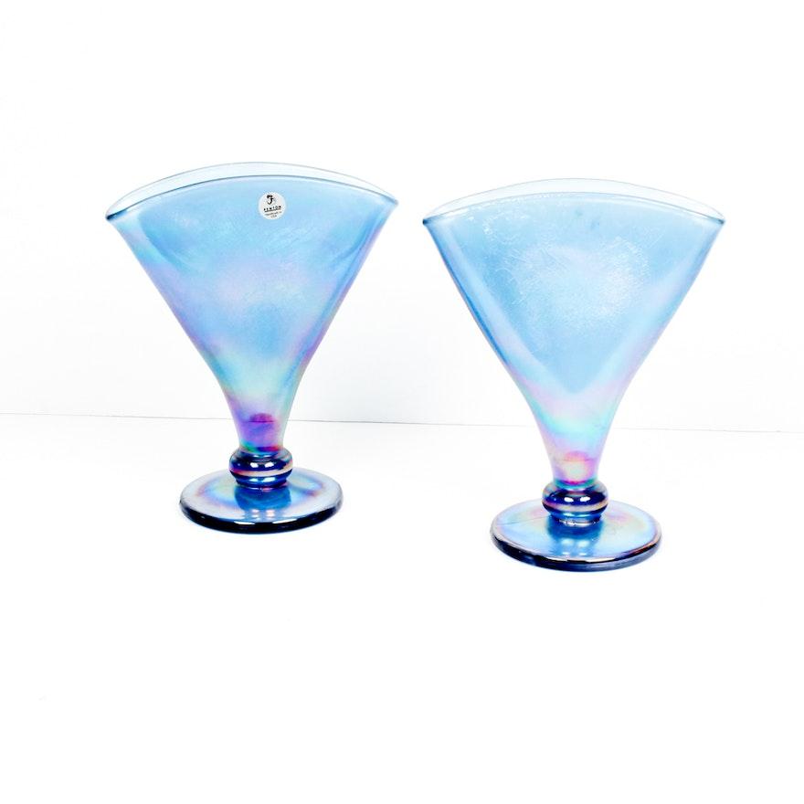 Fenton Iridescent Blue Carnival Glass Strech Fan Vases Ebth