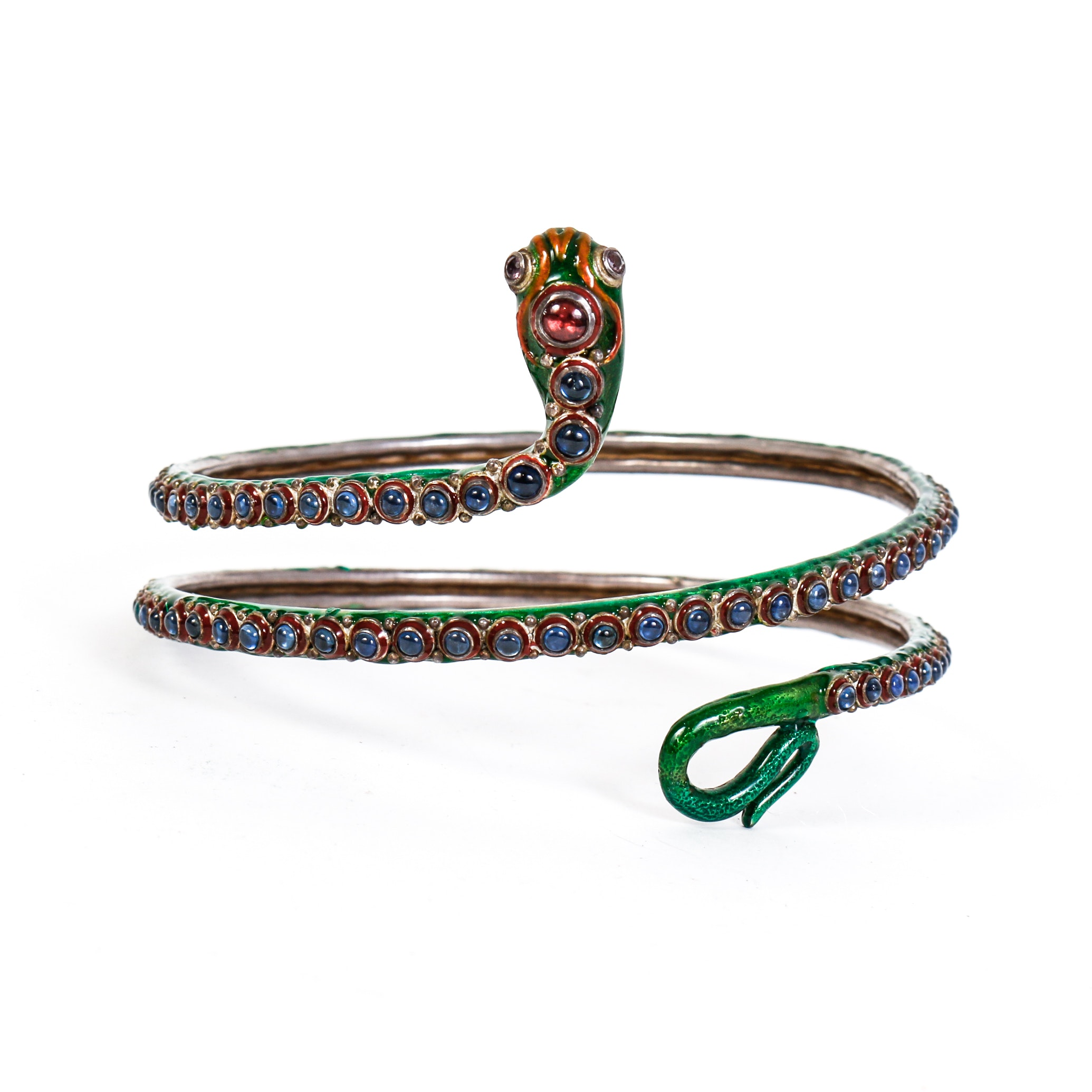 Vintage Multi-Stone, Enamel and Sterling Silver Snake Arm Cuff
