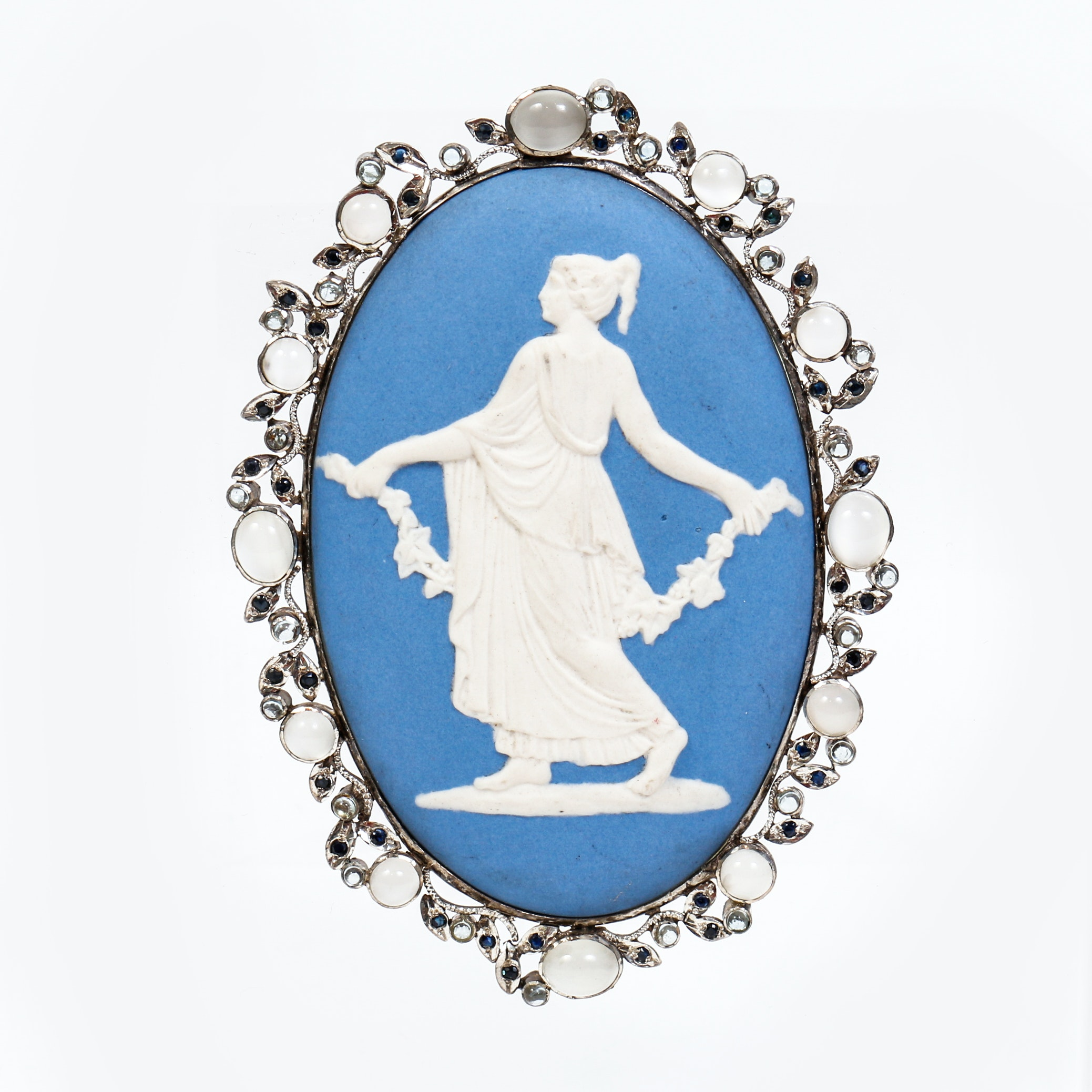 Vintage Wedgwood Style Pendant with Sapphires and Moonstones