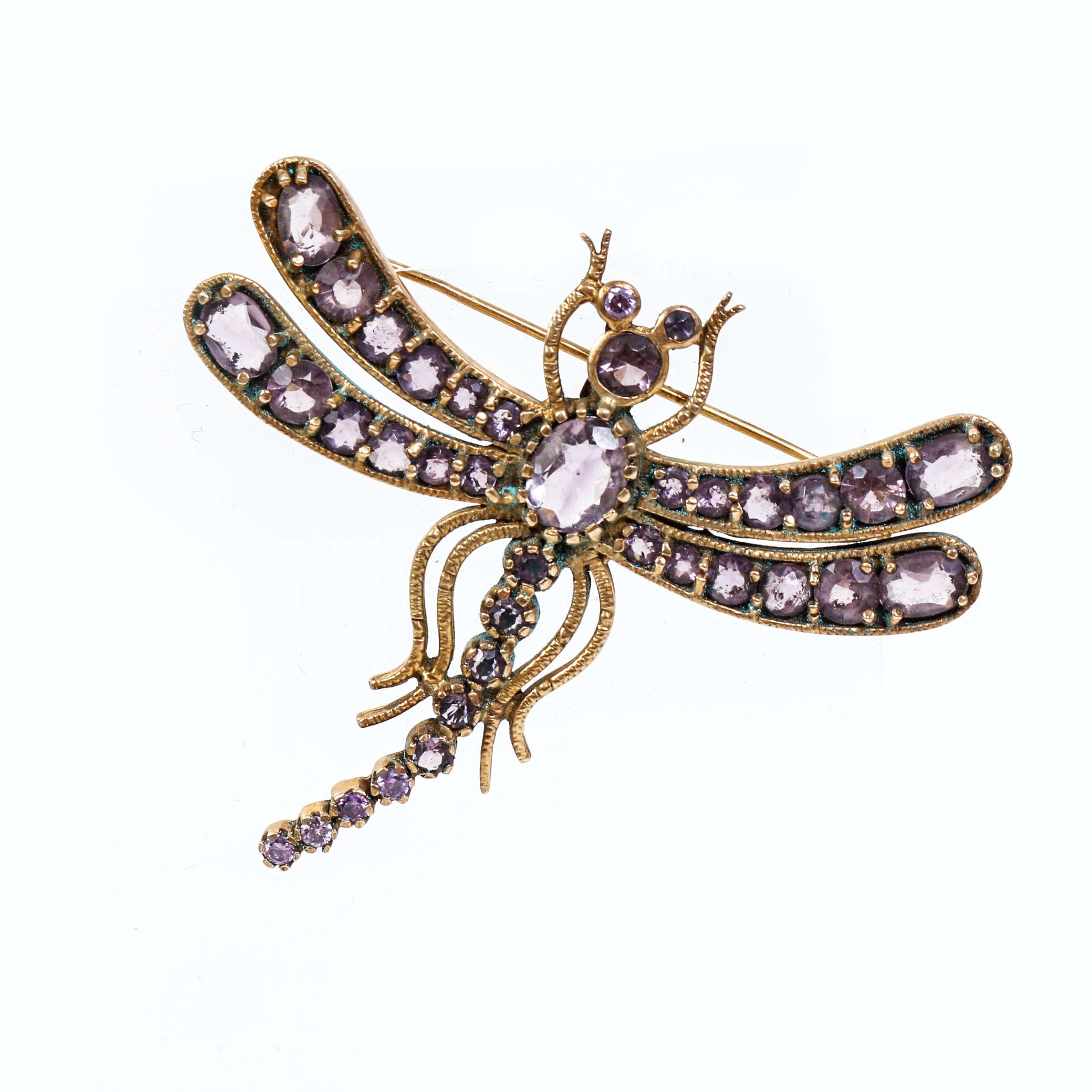 Vintage Amethyst and Sterling Silver Vermeil Dragonfly Brooch