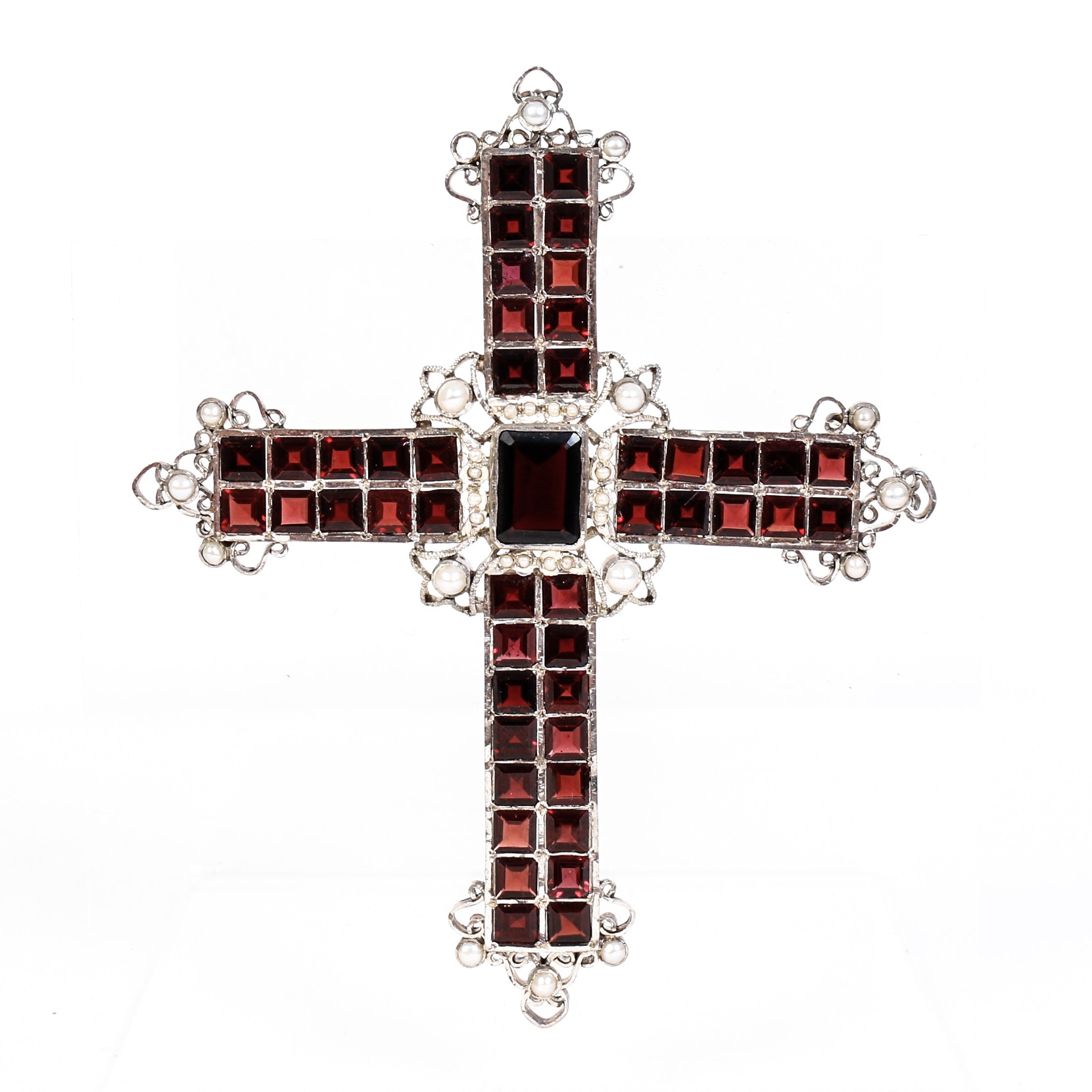 Garnet,Freshwater Cultured Pearl and Silver Crucifix