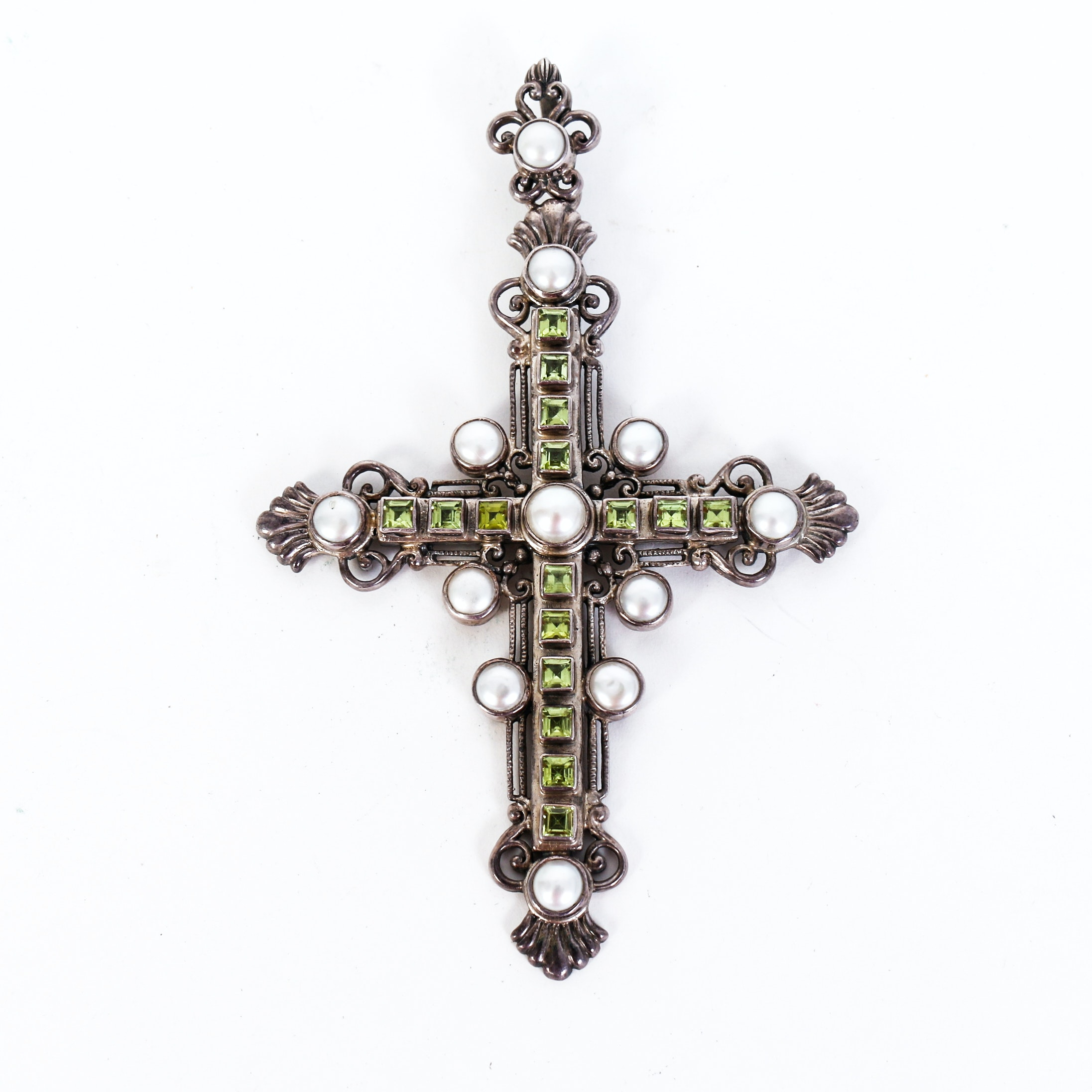 Vintage Peridot, Freshwater Cultured Pearl and Sterling Silver Cross