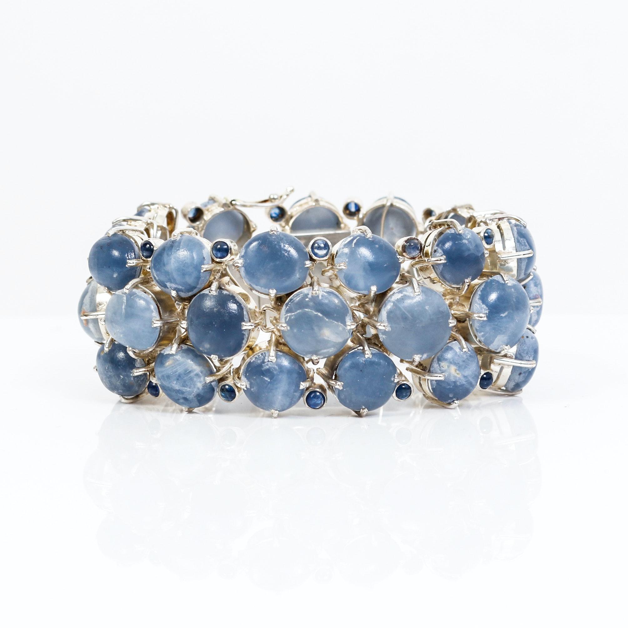 Vintage Quartz , Sapphire and Silver Bracelet
