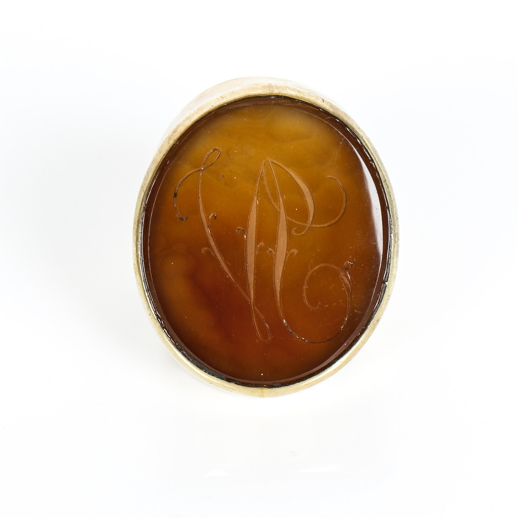 Vintage Chalcedony and Vermeil Ring