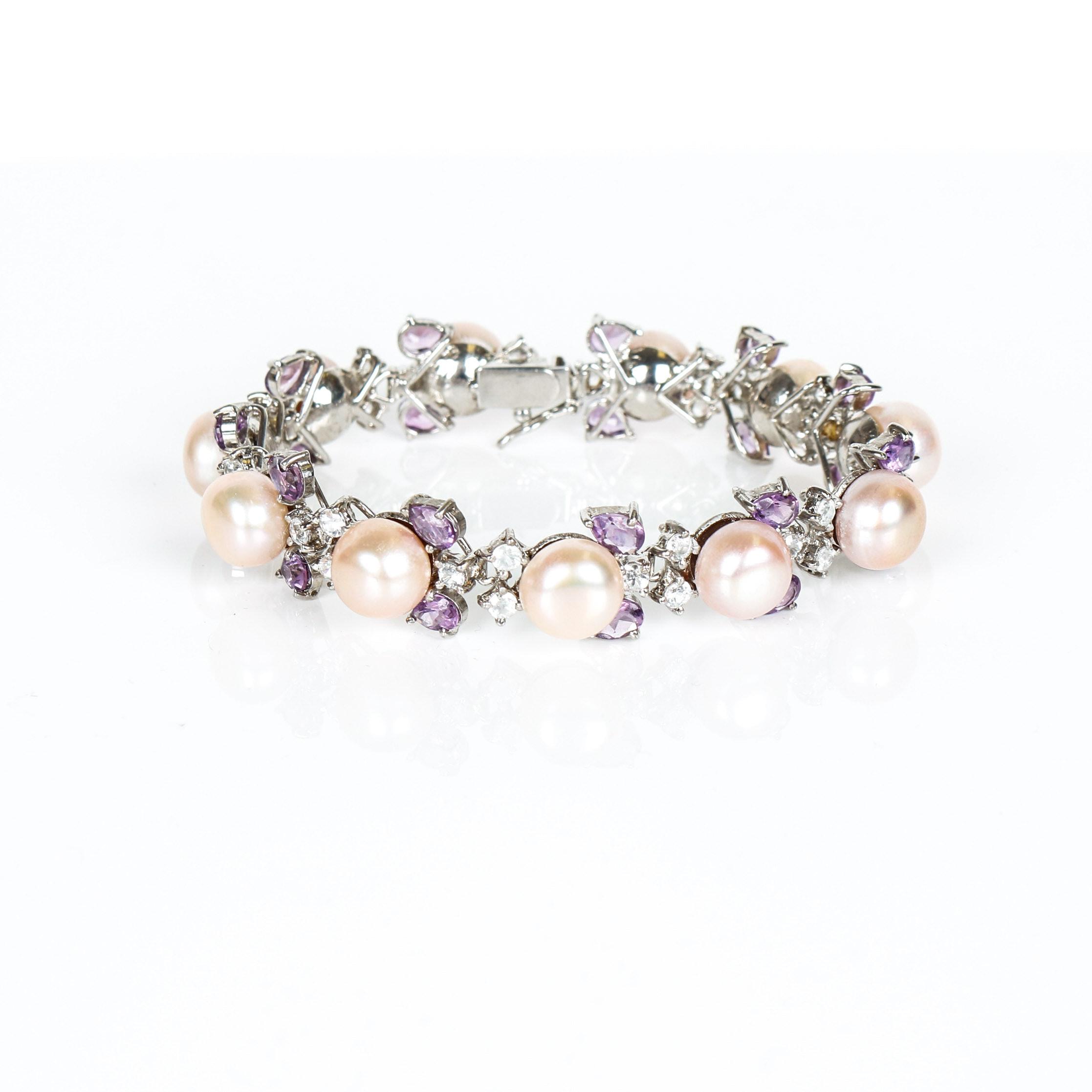 Vintage Freshwater Cultured Pearl, Amethyst, Topaz, Sterling Silver Bracelet