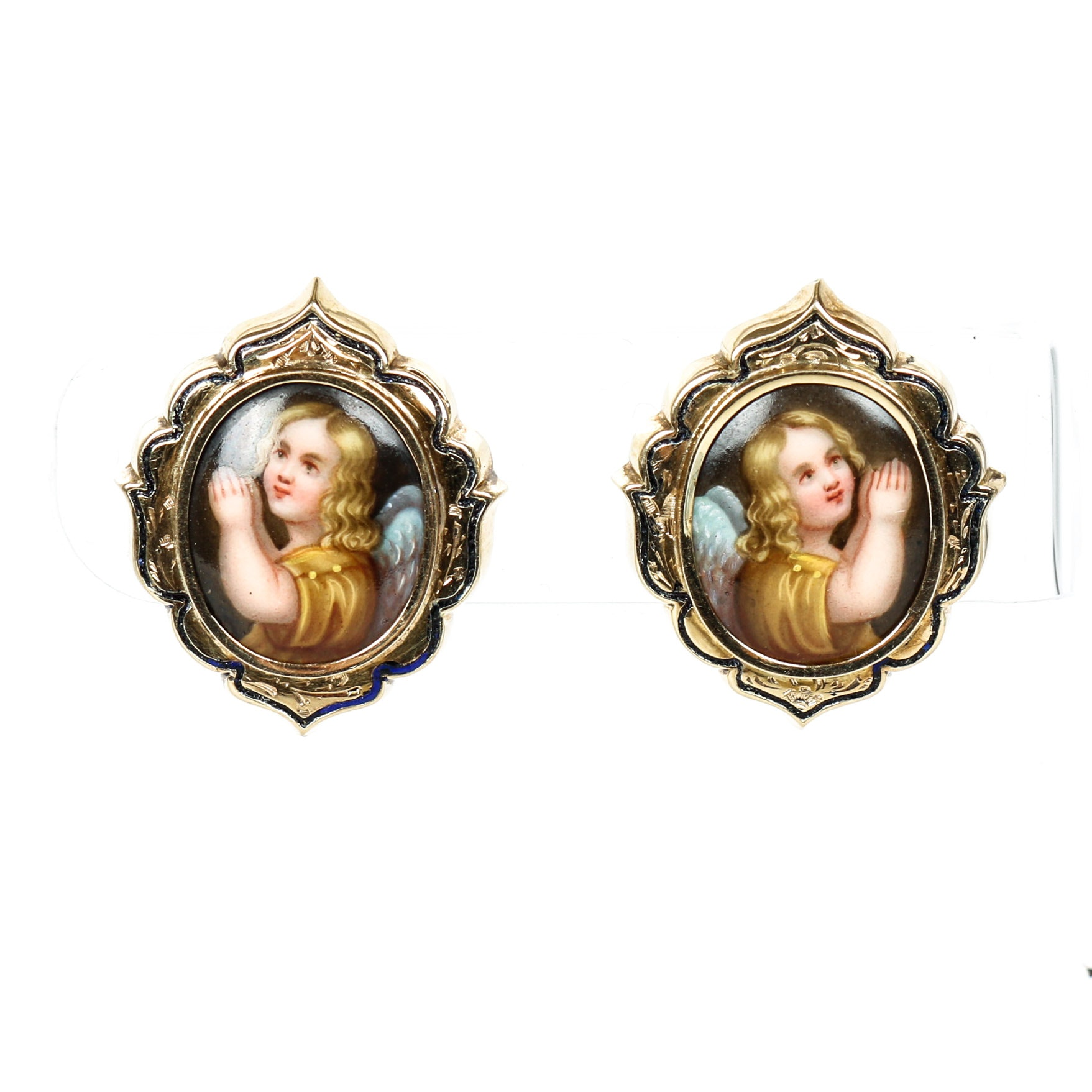 Victorian Gold filled and Enamel Screw Back Earrings