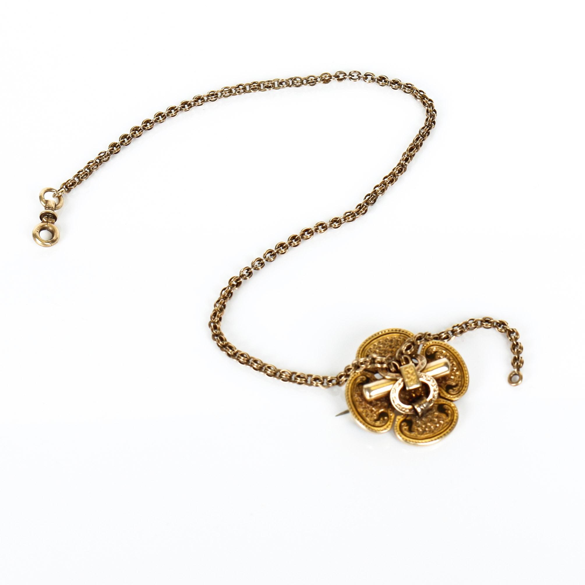 14K Gold Victorian Quatrefoil Watch Chain with Enamel Detailing