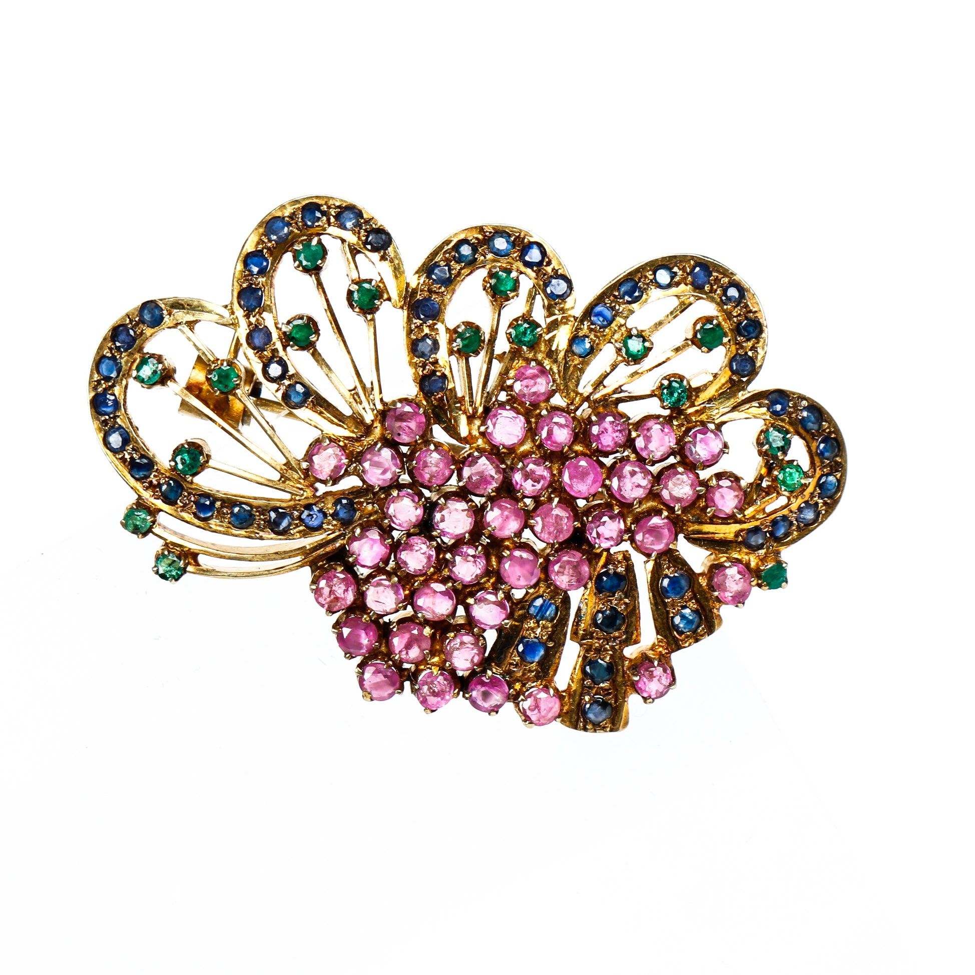 Vintage Ruby, Sapphire, and Emerald and Vermeil Brooch