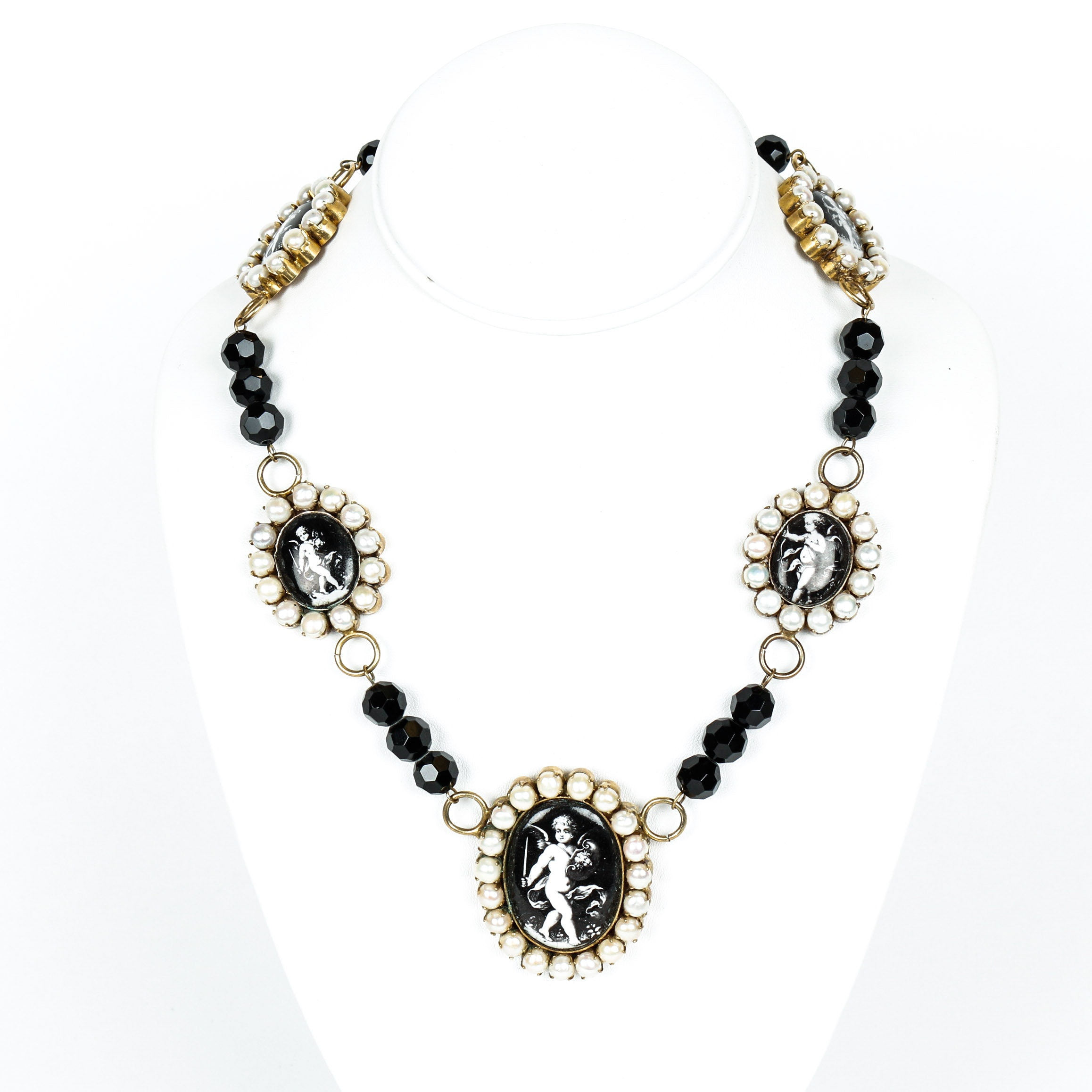 Vintage Black Onyx, Cultured Pearl, Enamel and Vermeil Necklace