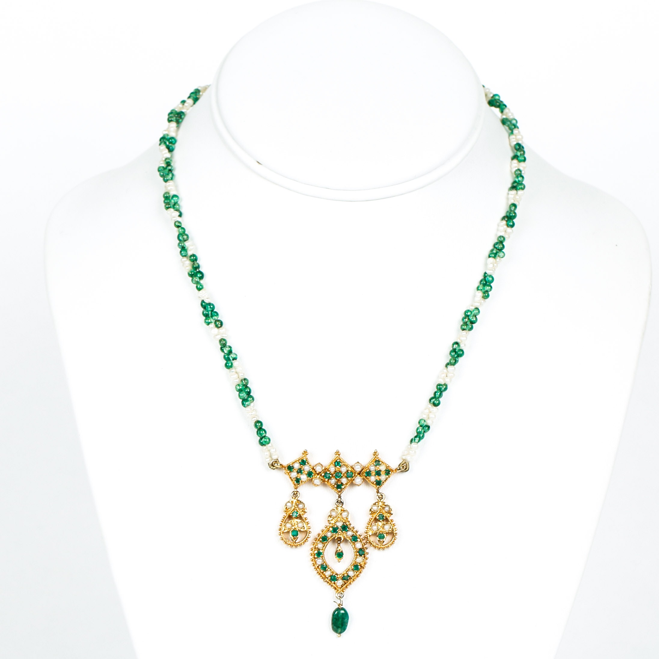 Indian Style Emerald, Seed Pearl and Glass Bead Necklace