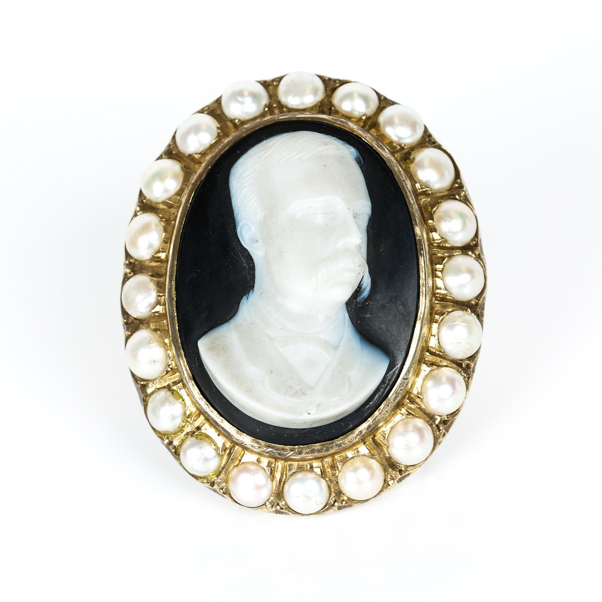 Antique Black Onyx Hard Stone Cameo in Vermeil with Pearl Border