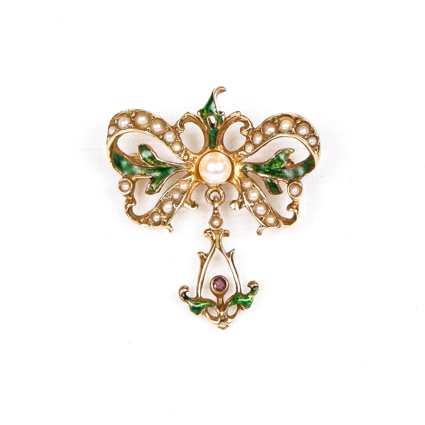Vintage 14K Gold, Cultured Pearl, Ruby and Enamel Brooch