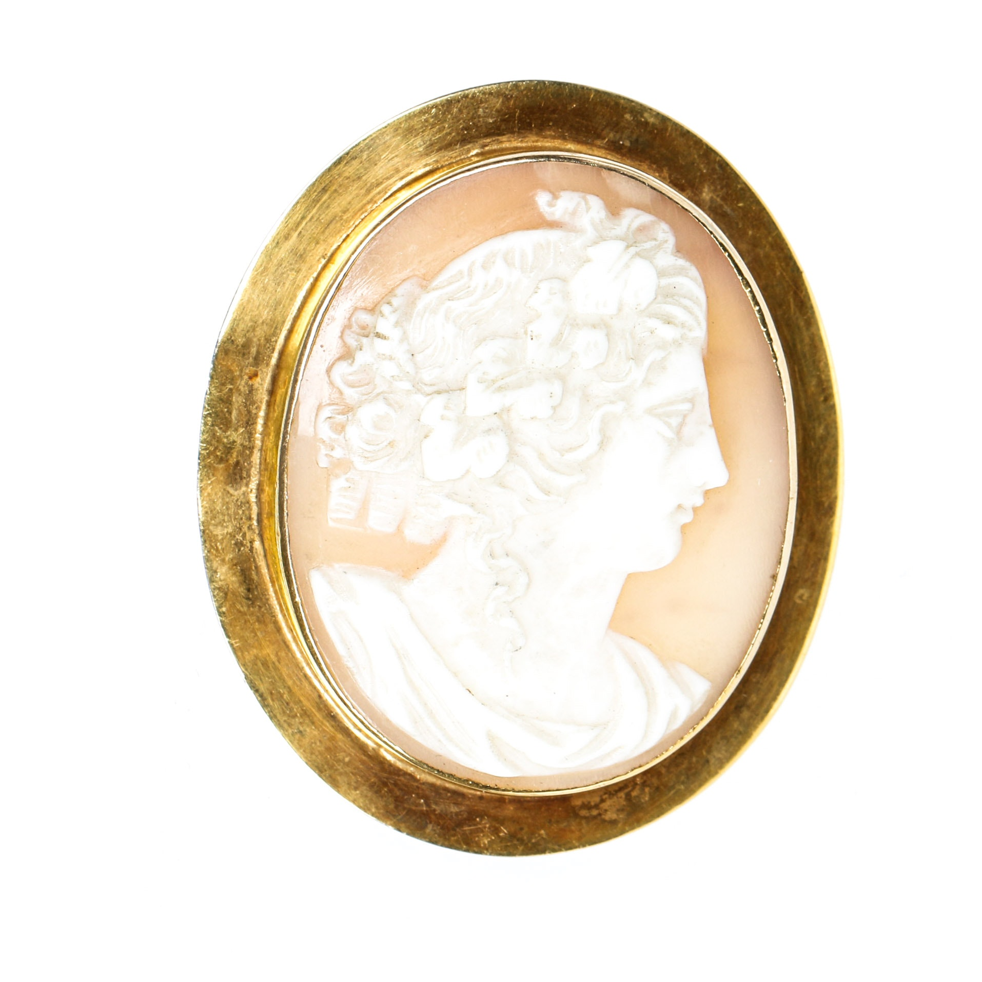 Vintage 14K Gold and Shell Cameo Brooch