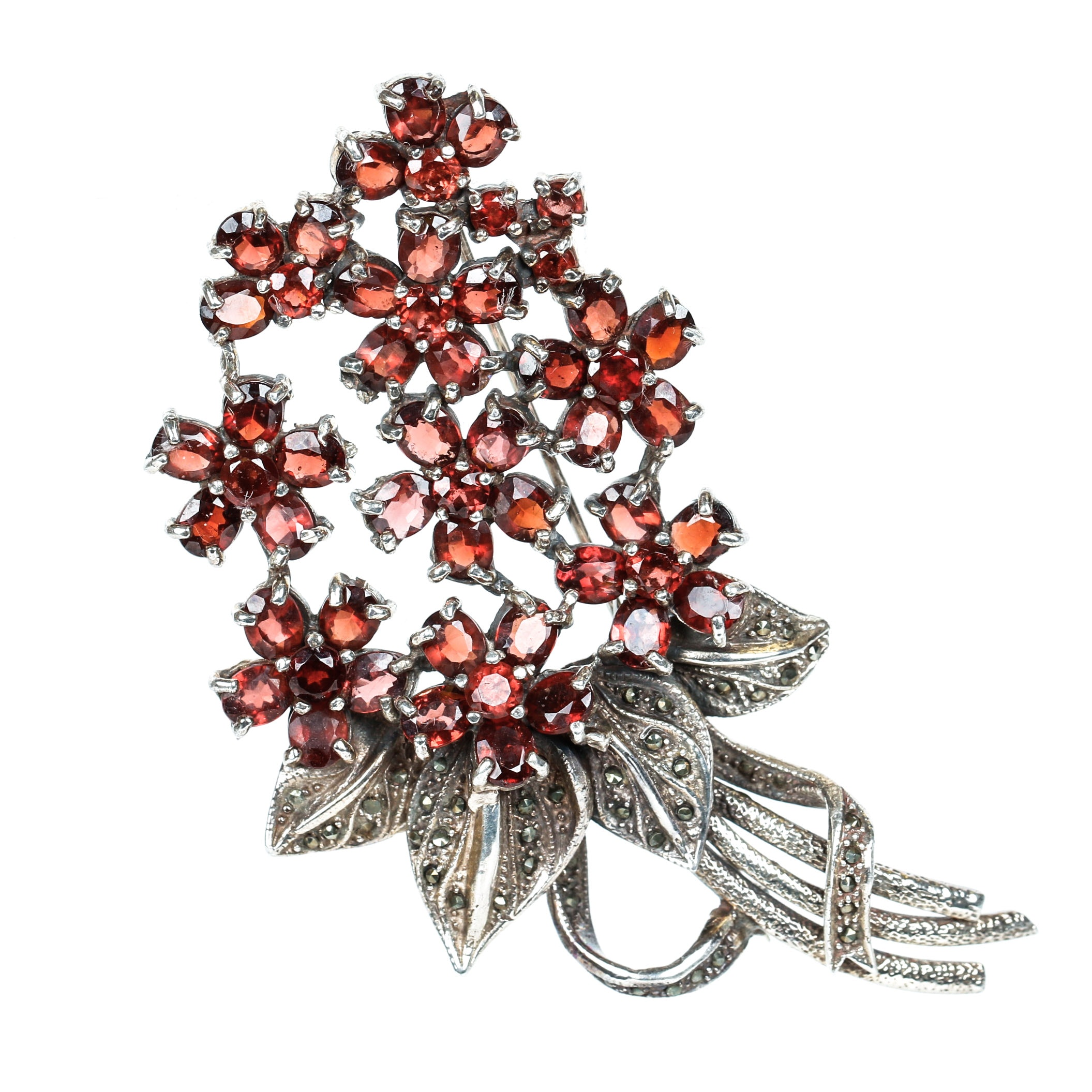 Vintage Garnet, Marcasite and Sterling Silver Floral Bouquet Brooch