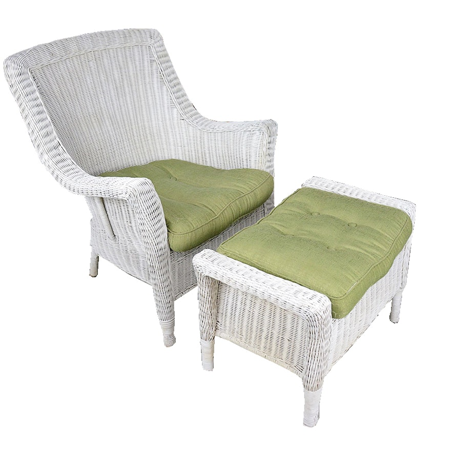 White Wicker Armchair and Ottoman | EBTH