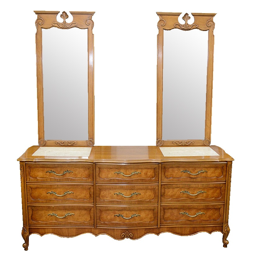 Double Vanity Marble Top Chest of Drawers