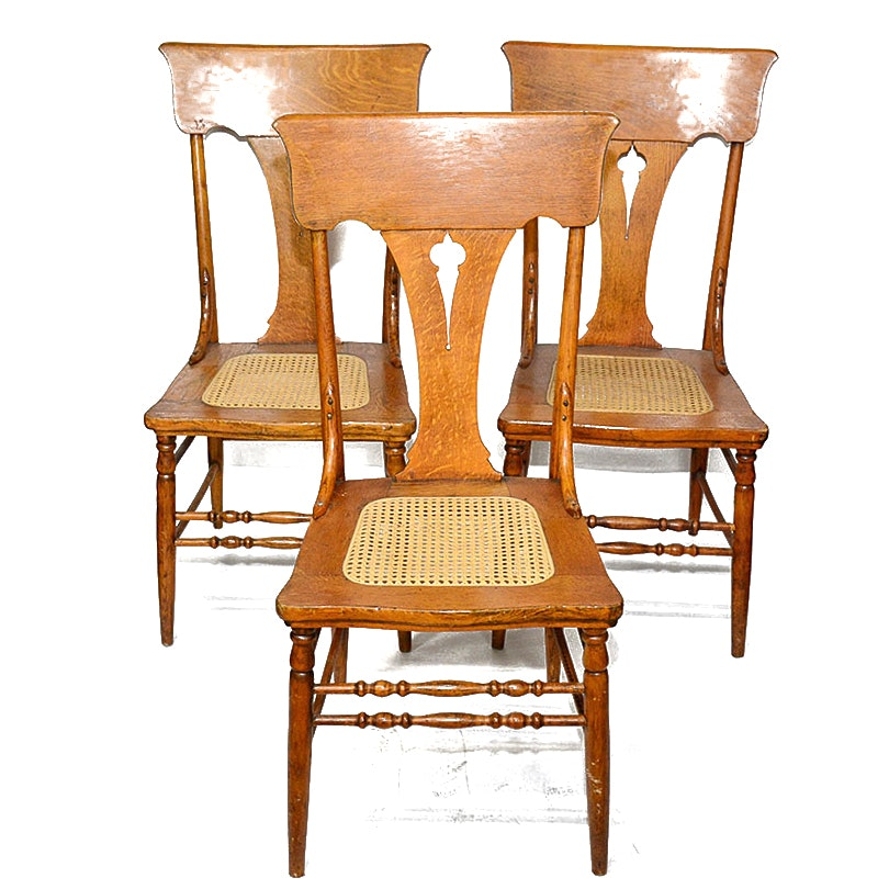 Beau Vintage Oak Cane Seat Dining Chairs ...