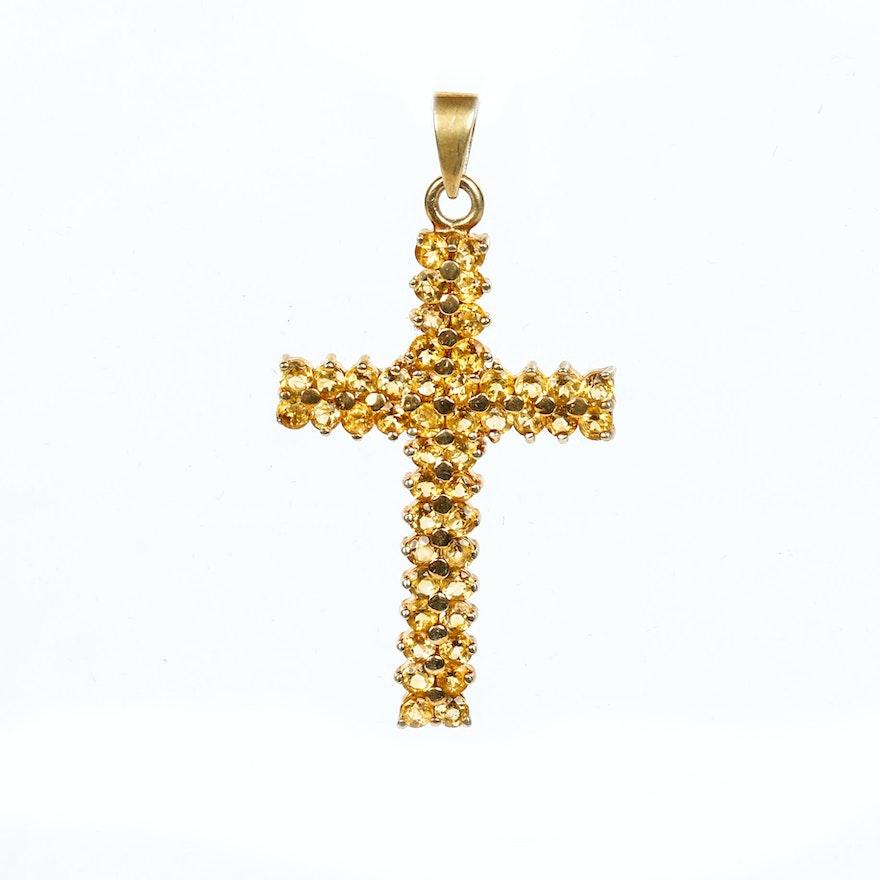 Vintage citrine and sterling silver vermeil cross pendant ebth vintage citrine and sterling silver vermeil cross pendant aloadofball Gallery