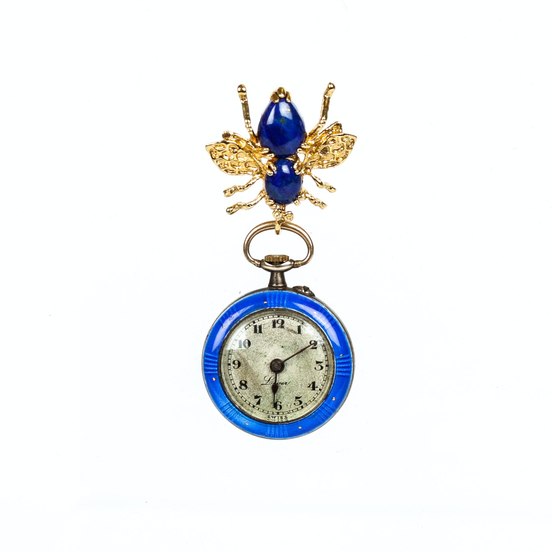 18K and Sterling Blue Enamel Women's Watch with Lapis Bee Pendant