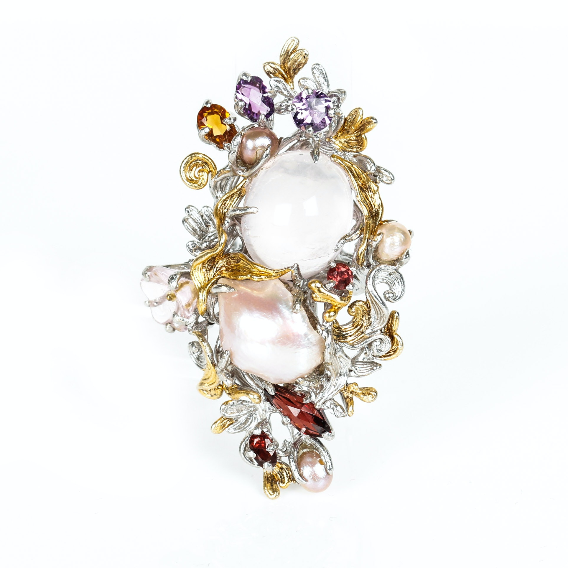 Joseph Holland Custom Multi-Stone, Freshwater Cultured Pearl, Sterling Silver and Vermeil Ring