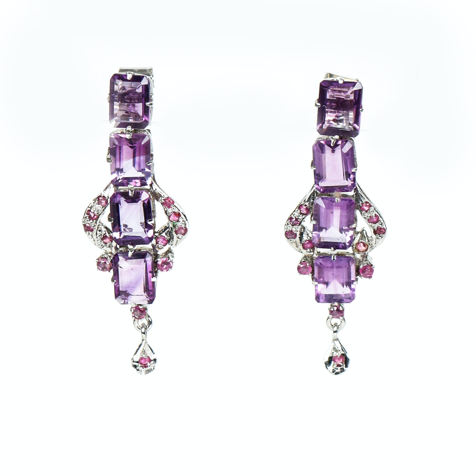 Vintage Amethyst, Ruby,  and Silver Drop  Earrings