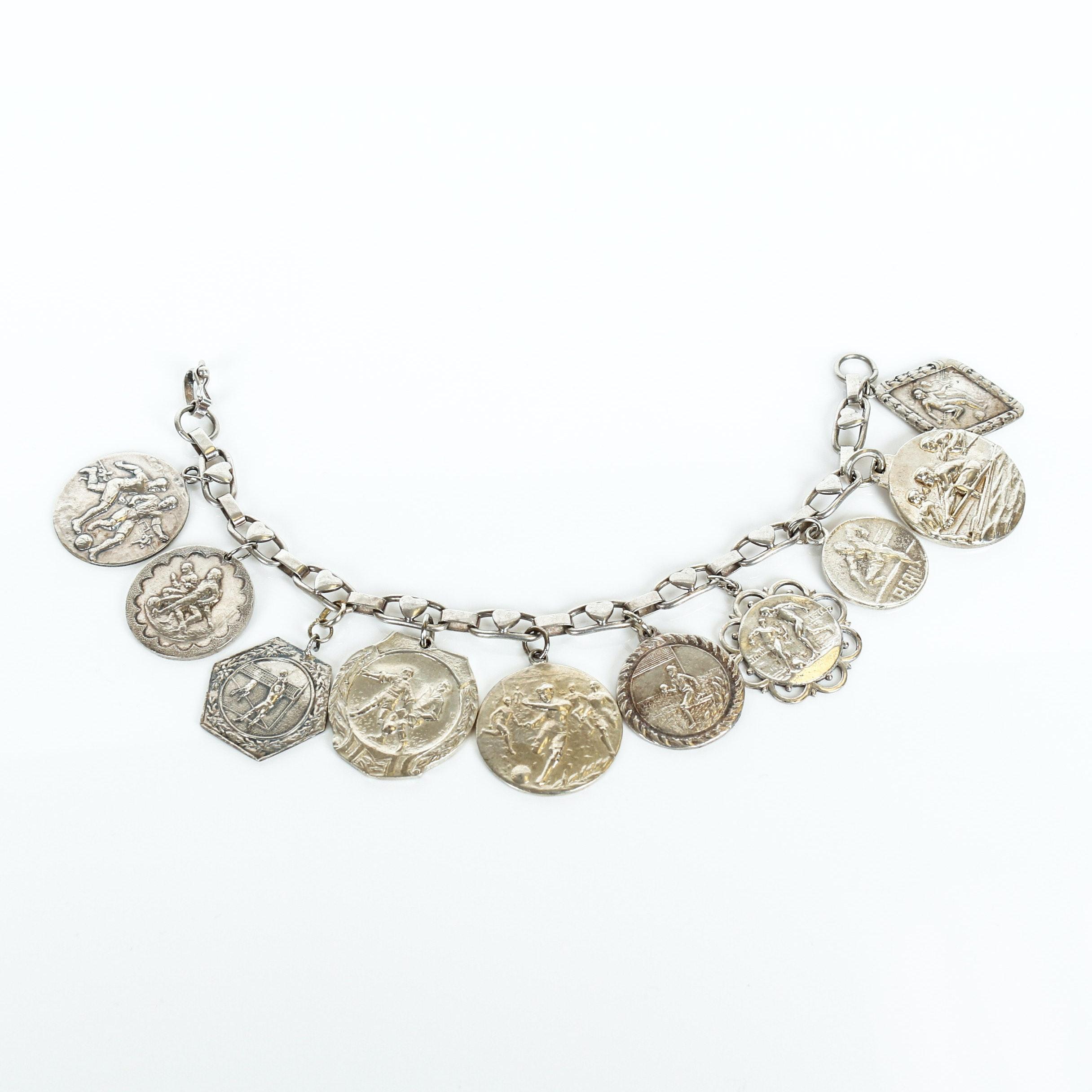 Vintage Silver Coin Medallion Bracelet