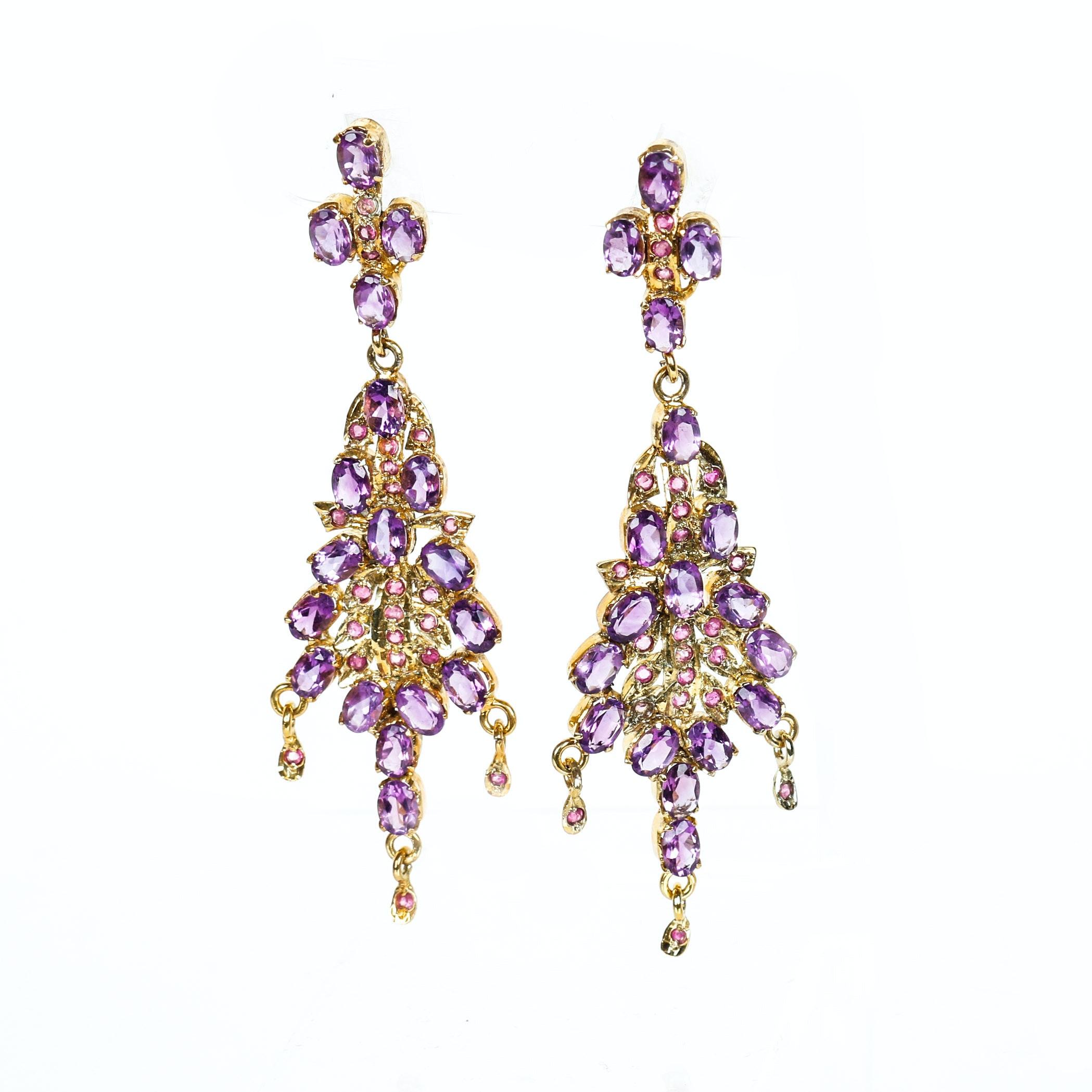 Vintage Amethyst, Ruby and Sterling Silver Vermeil Chandelier Earrings