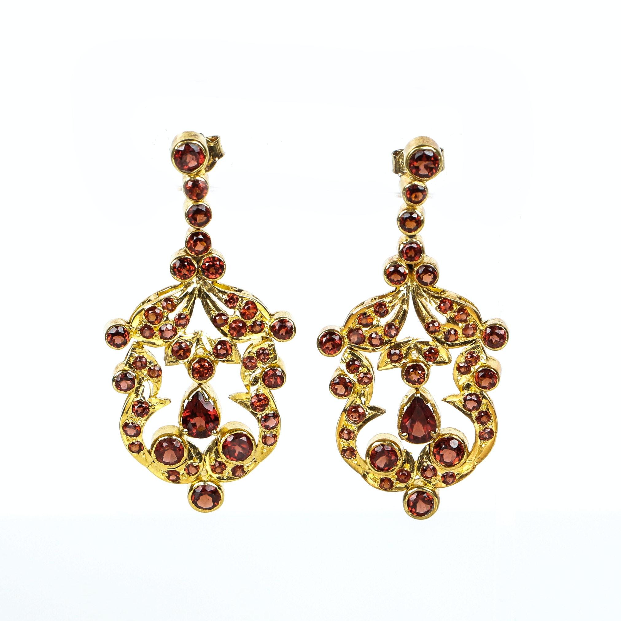 Vintage Garnet Chandelier Earrings Mounted in Vermeil