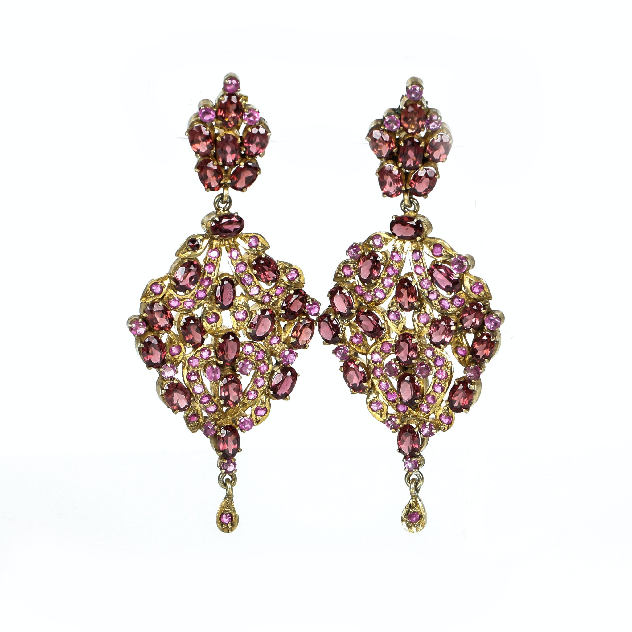 Ruby, Garnet and Sterling Silver Vermeil Chandelier Earrings