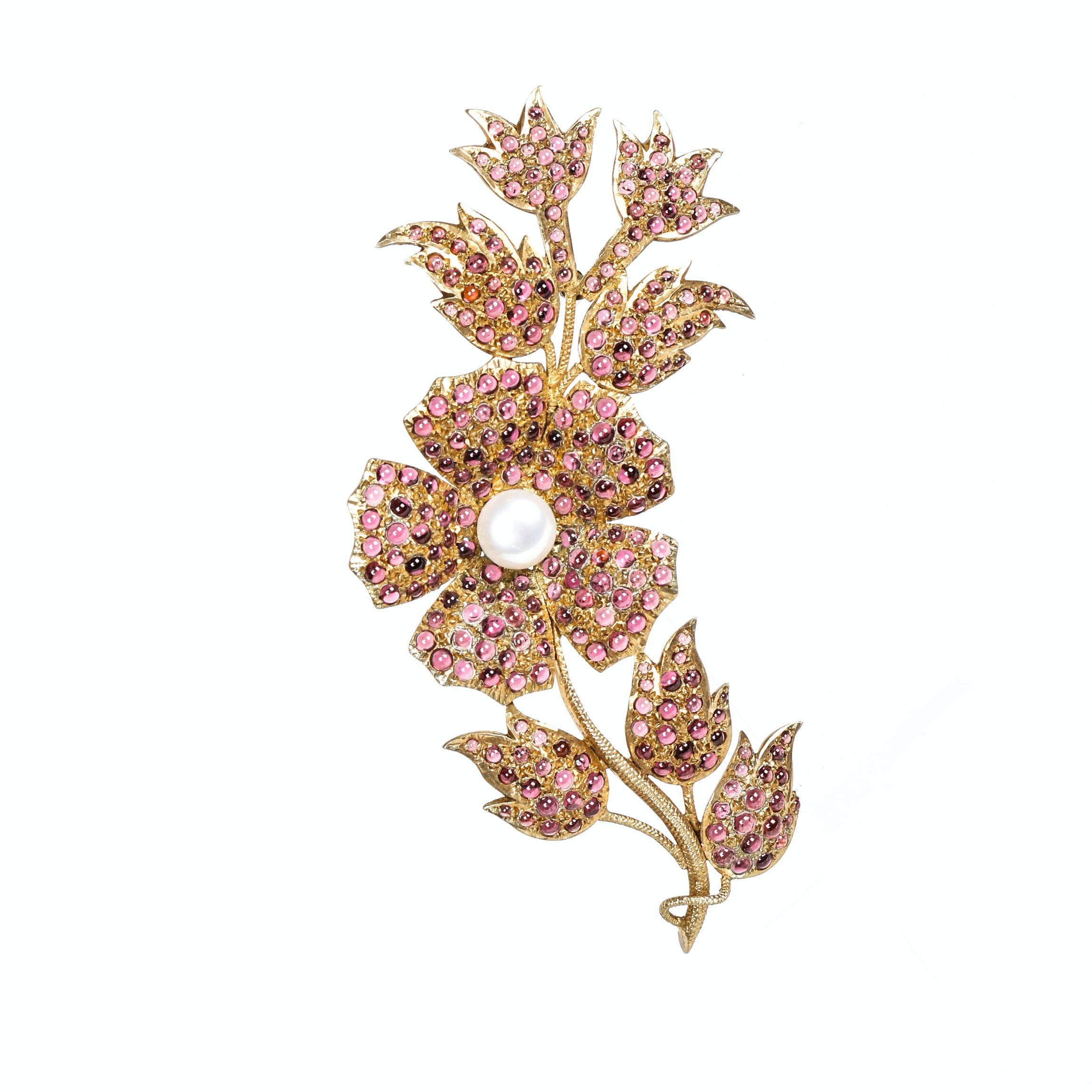 Vintage Garnet Freshwater Pearl and Vermeil  Floral Brooch